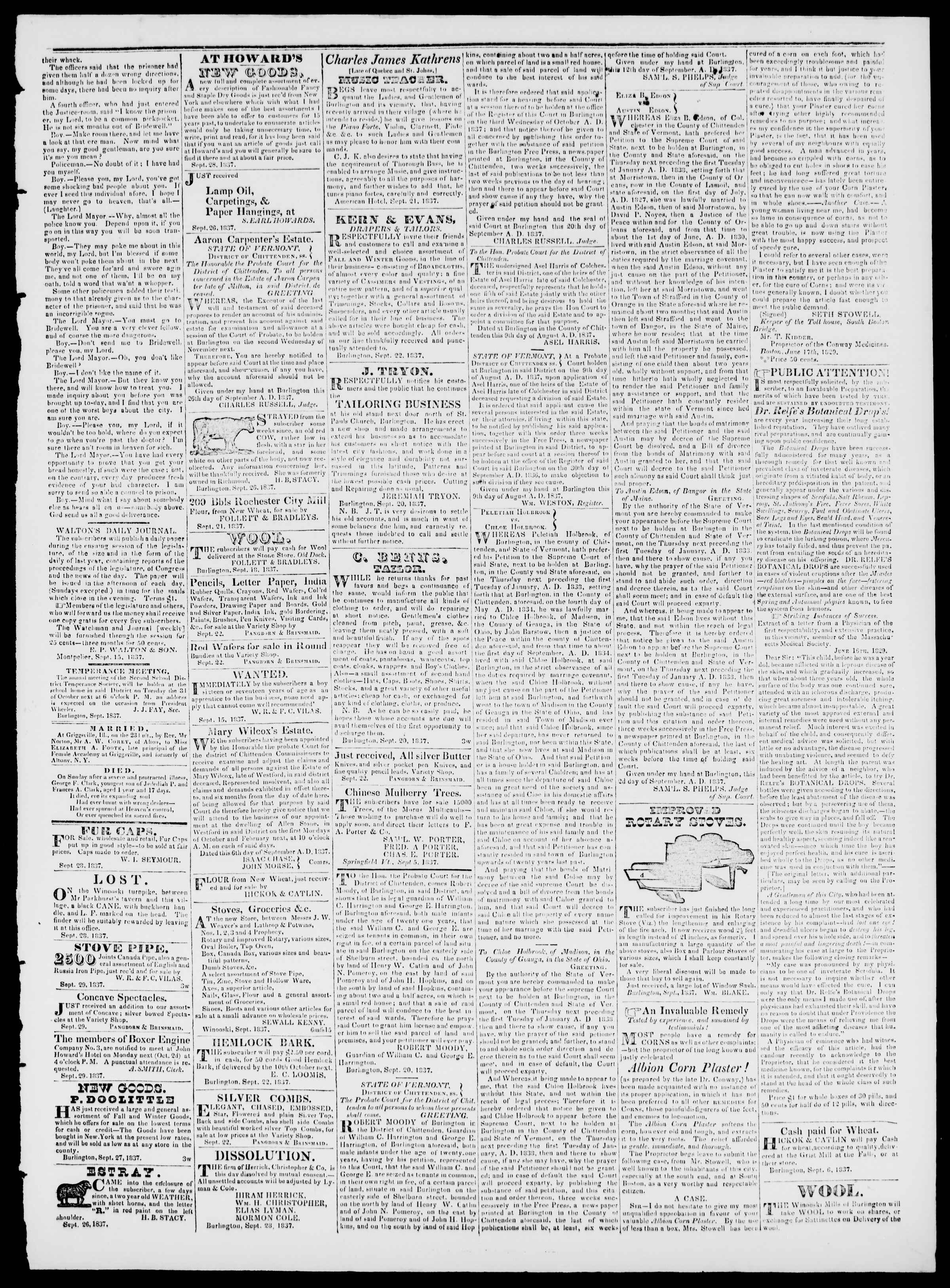 Newspaper of Burlington Free Press dated September 29, 1837 Page 3