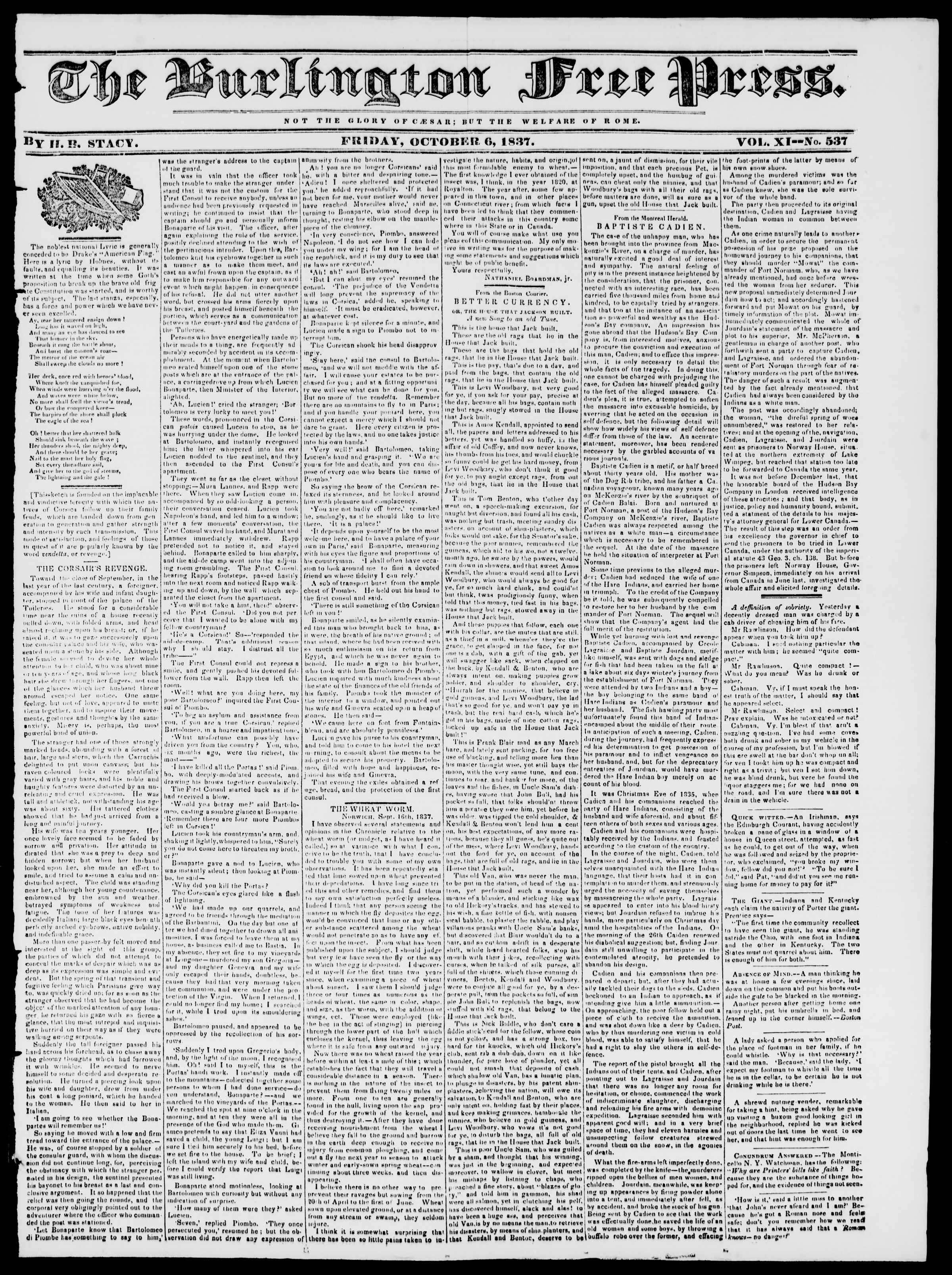 Newspaper of Burlington Free Press dated October 6, 1837 Page 1