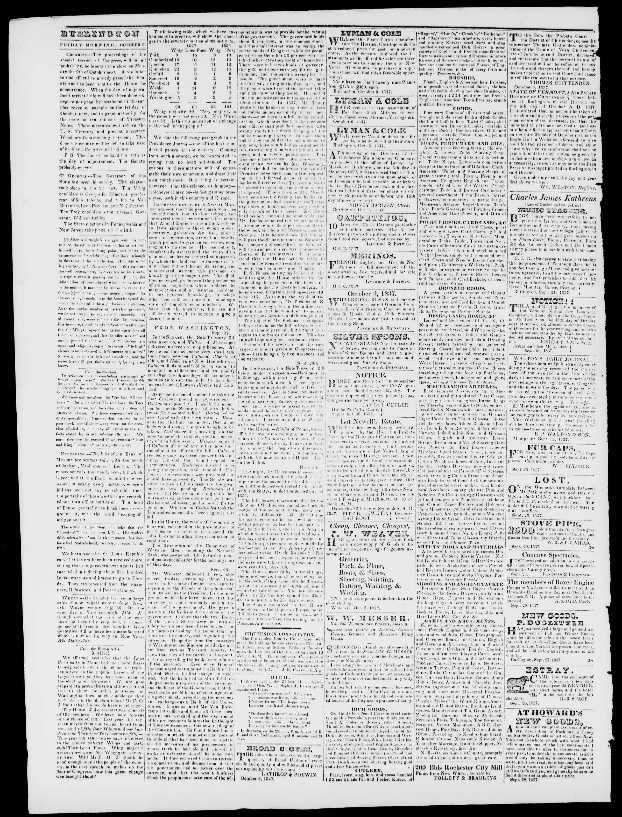 Newspaper of Burlington Free Press dated October 6, 1837 Page 2