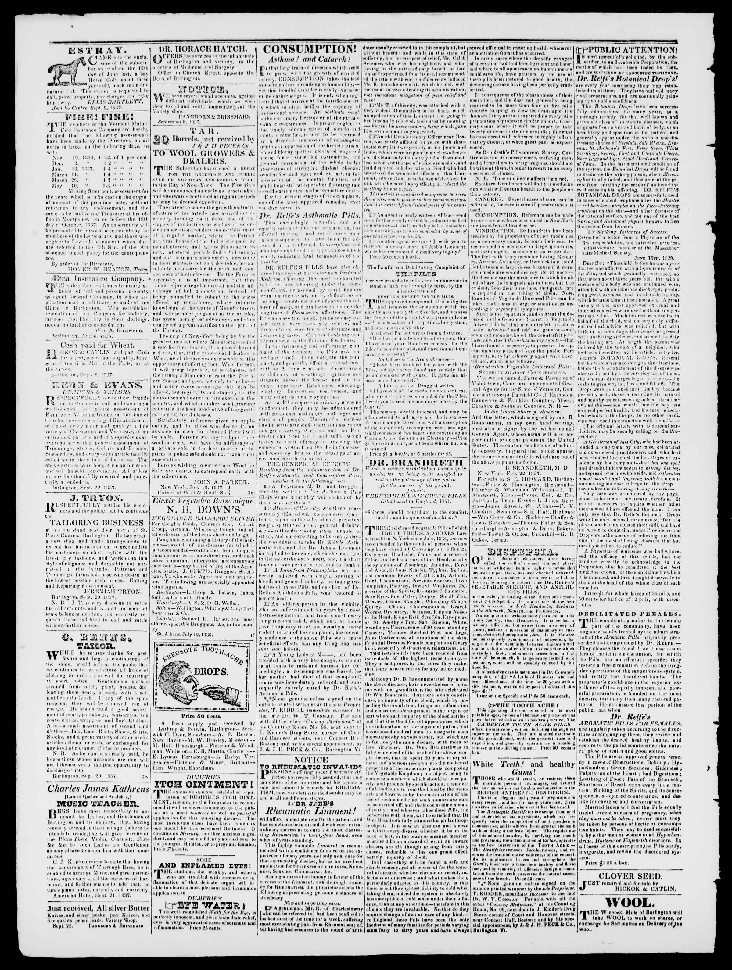 Newspaper of Burlington Free Press dated October 6, 1837 Page 3