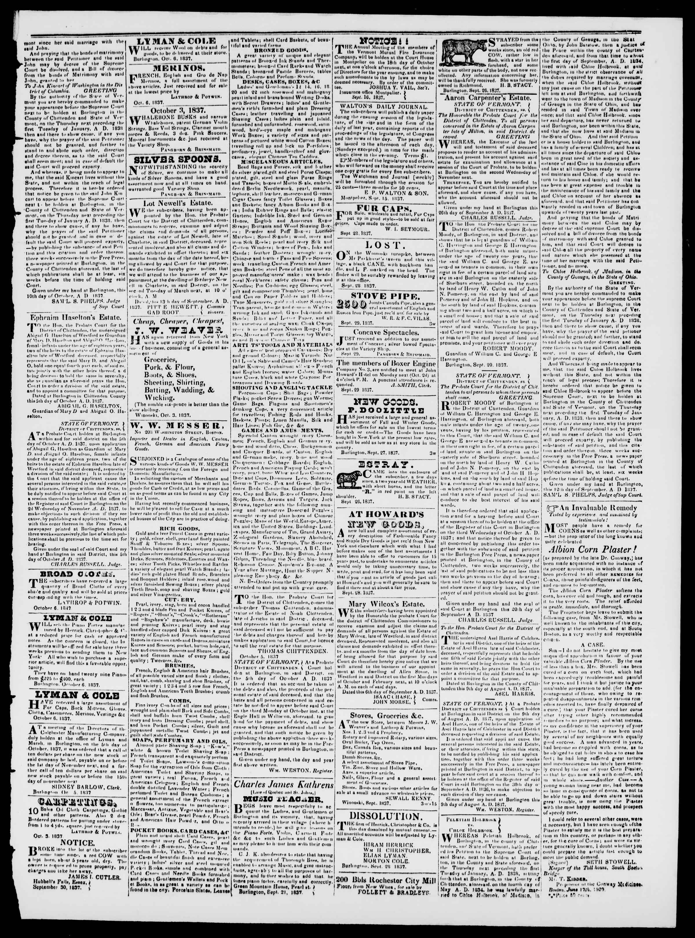 Newspaper of Burlington Free Press dated October 13, 1837 Page 3
