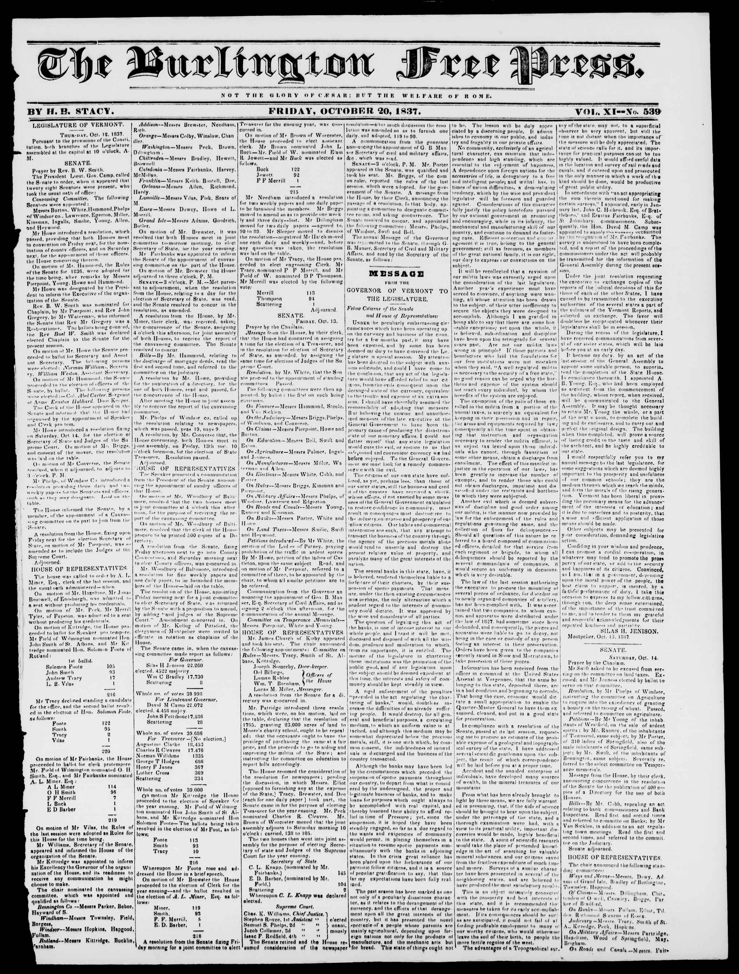 Newspaper of Burlington Free Press dated October 20, 1837 Page 1