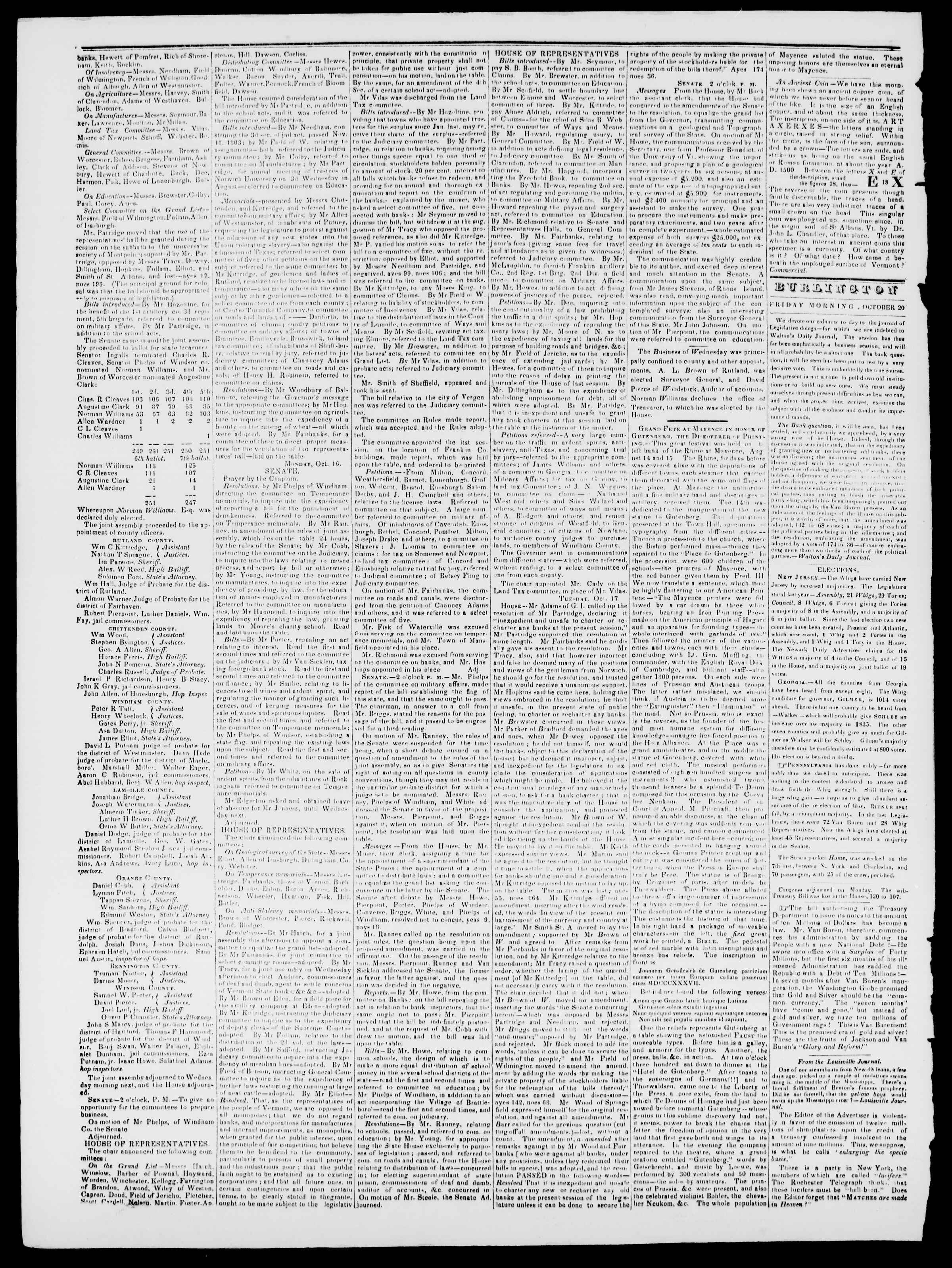 Newspaper of Burlington Free Press dated October 20, 1837 Page 2