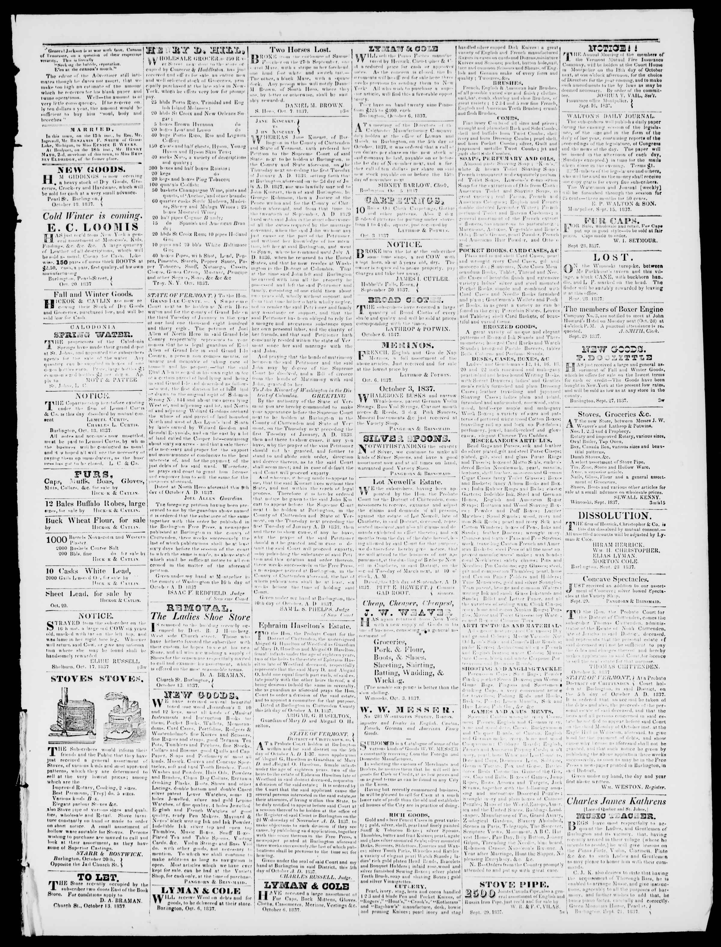 Newspaper of Burlington Free Press dated October 20, 1837 Page 3