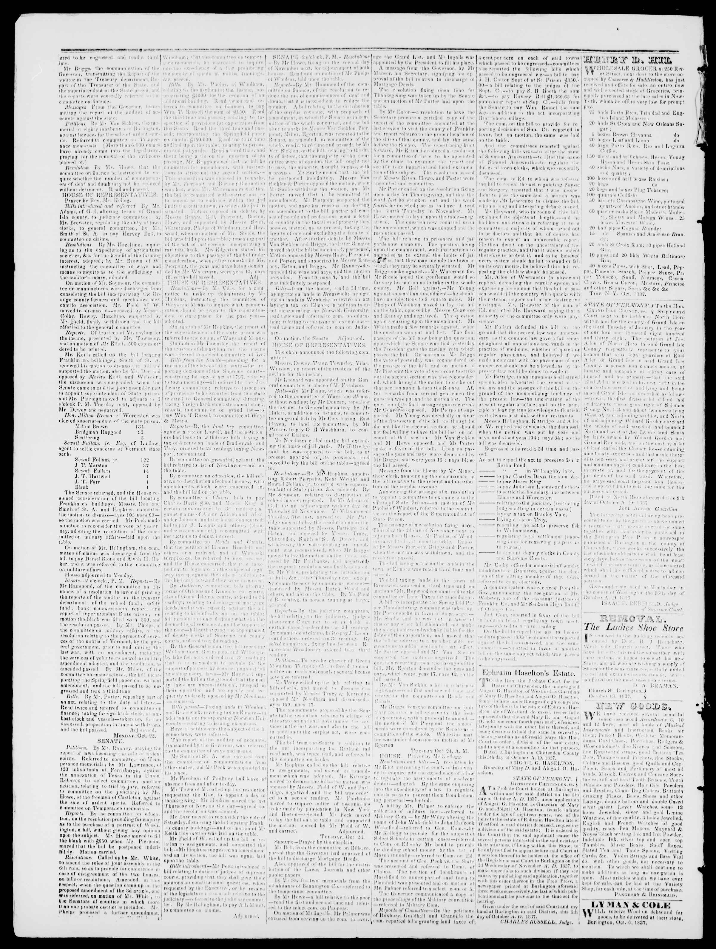 Newspaper of Burlington Free Press dated October 27, 1837 Page 2