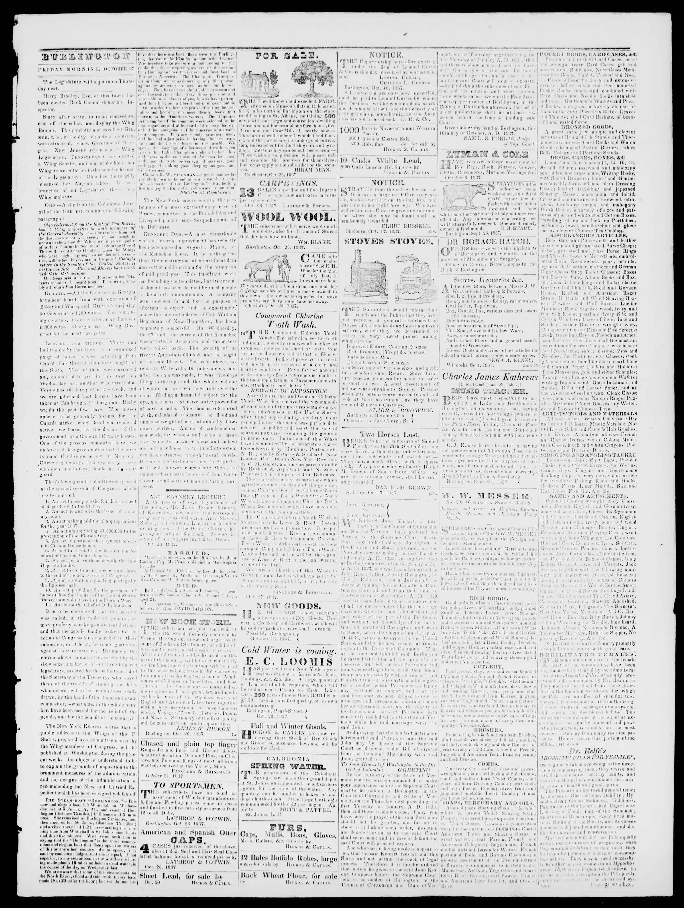 Newspaper of Burlington Free Press dated October 27, 1837 Page 3