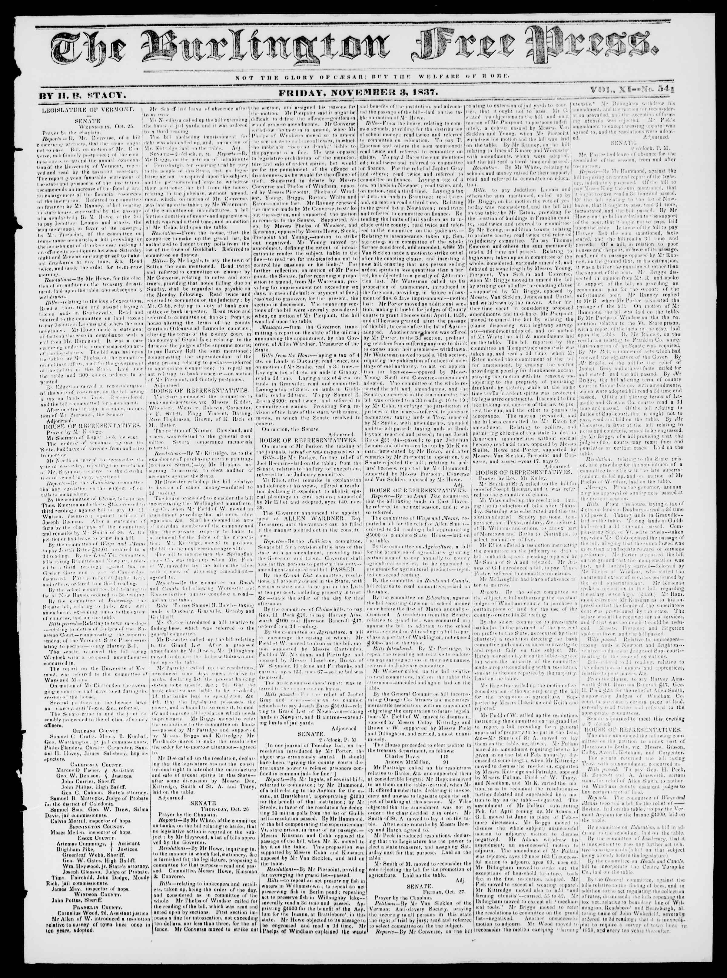 3 Kasım 1837 tarihli Burlington Free Press Gazetesi Sayfa 1