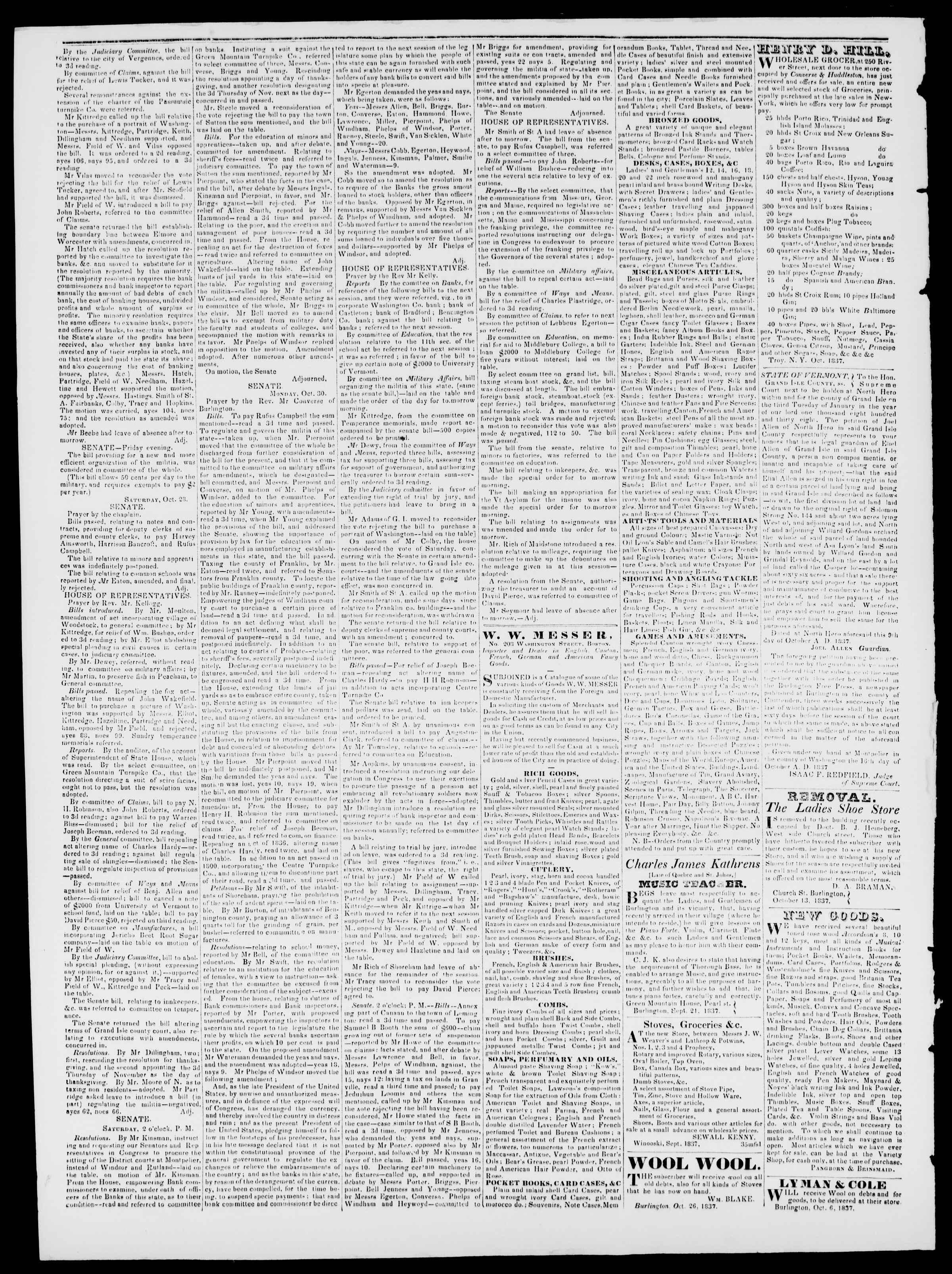 Newspaper of Burlington Free Press dated November 3, 1837 Page 2