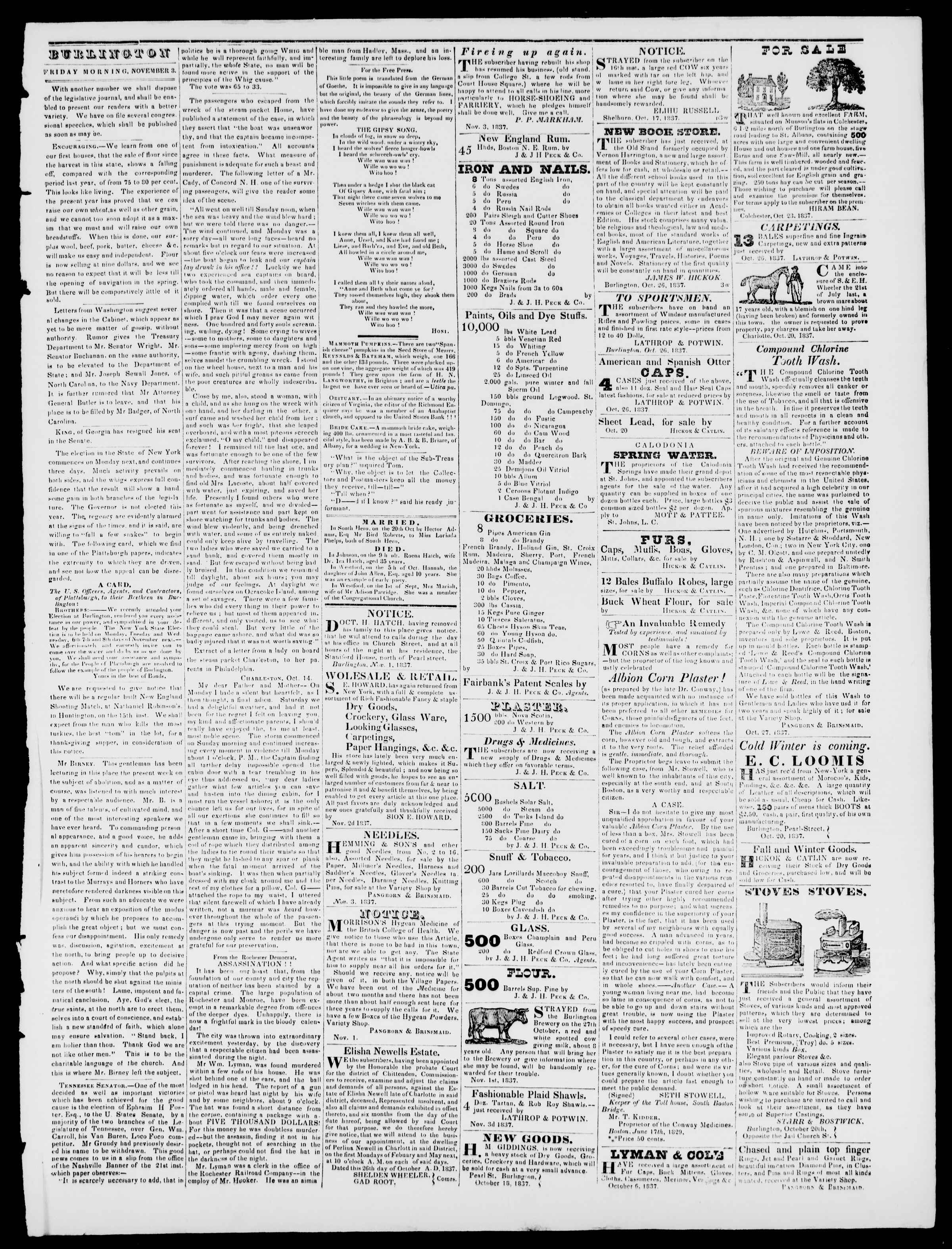 Newspaper of Burlington Free Press dated November 3, 1837 Page 3