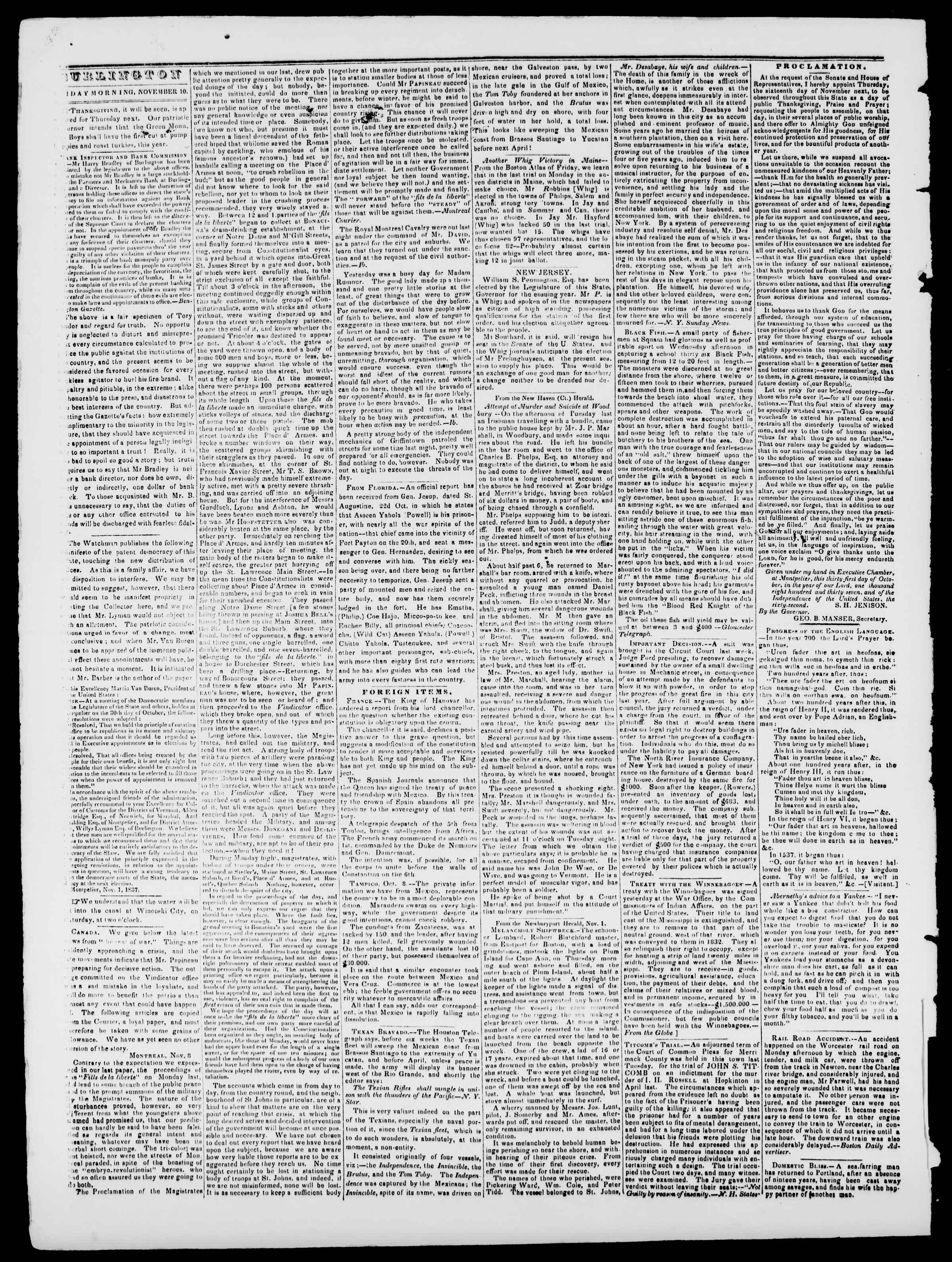 Newspaper of Burlington Free Press dated November 10, 1837 Page 2
