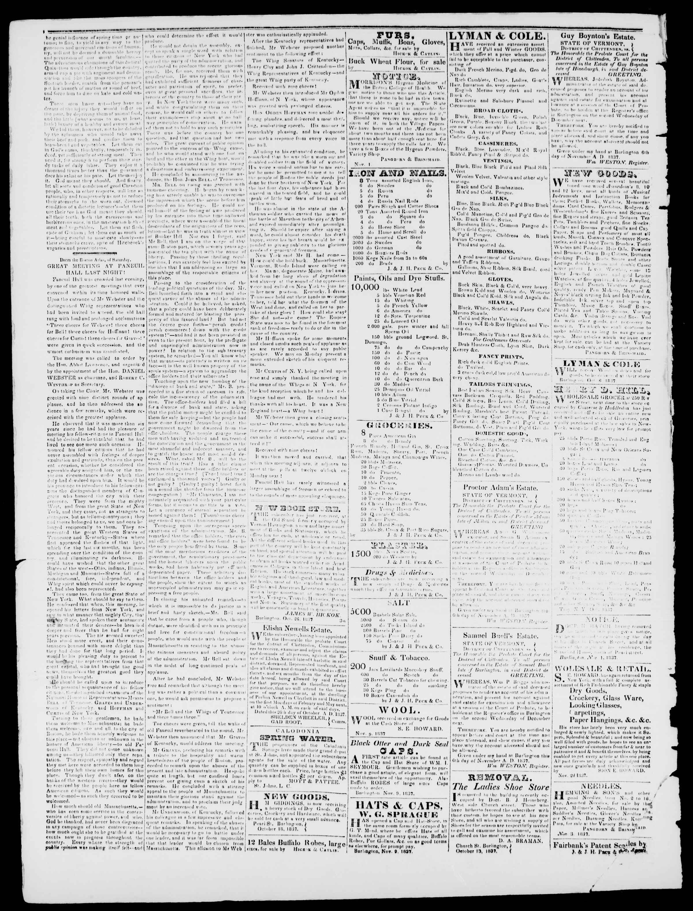 Newspaper of Burlington Free Press dated November 17, 1837 Page 2