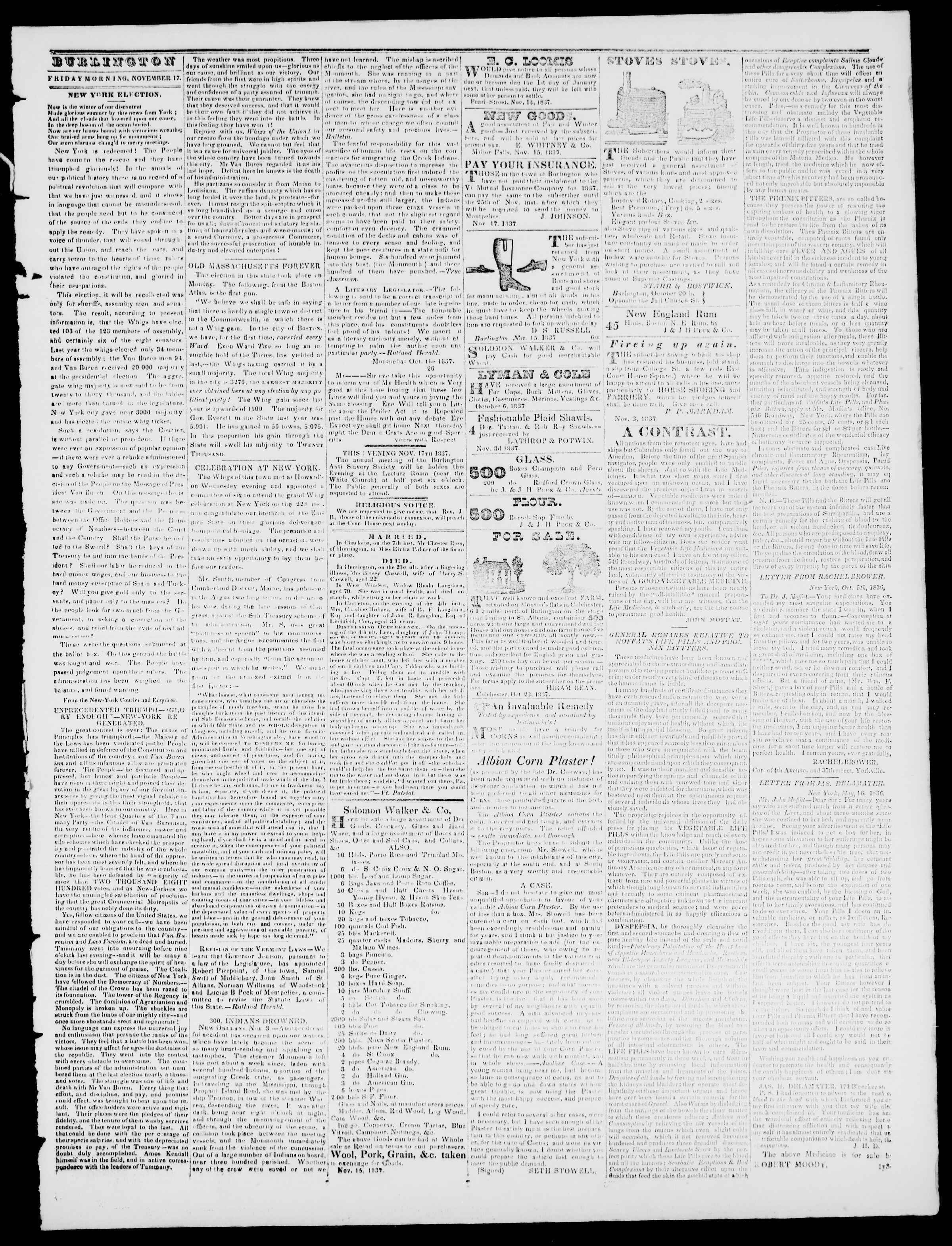 Newspaper of Burlington Free Press dated November 17, 1837 Page 3