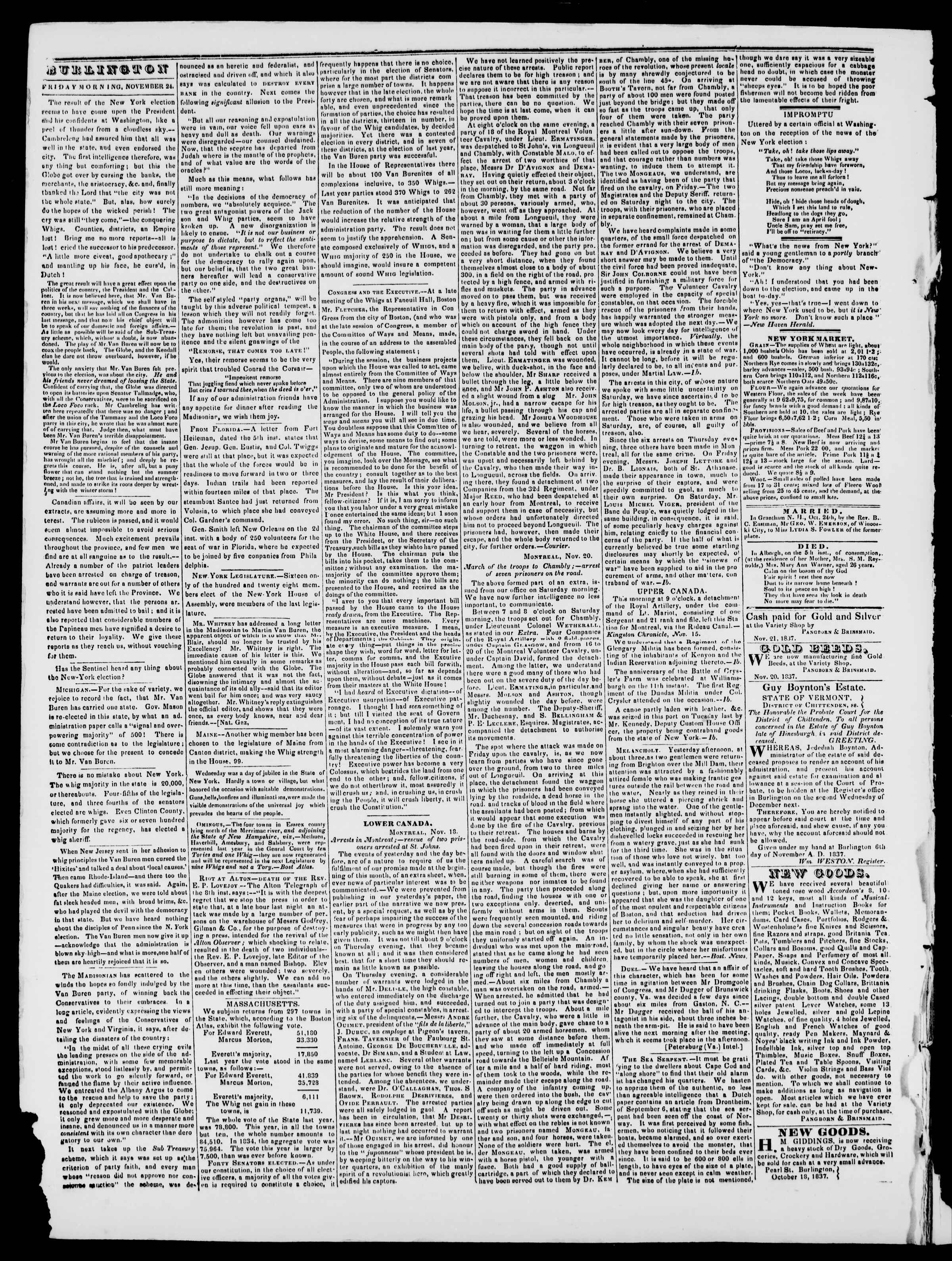 Newspaper of Burlington Free Press dated November 24, 1837 Page 2