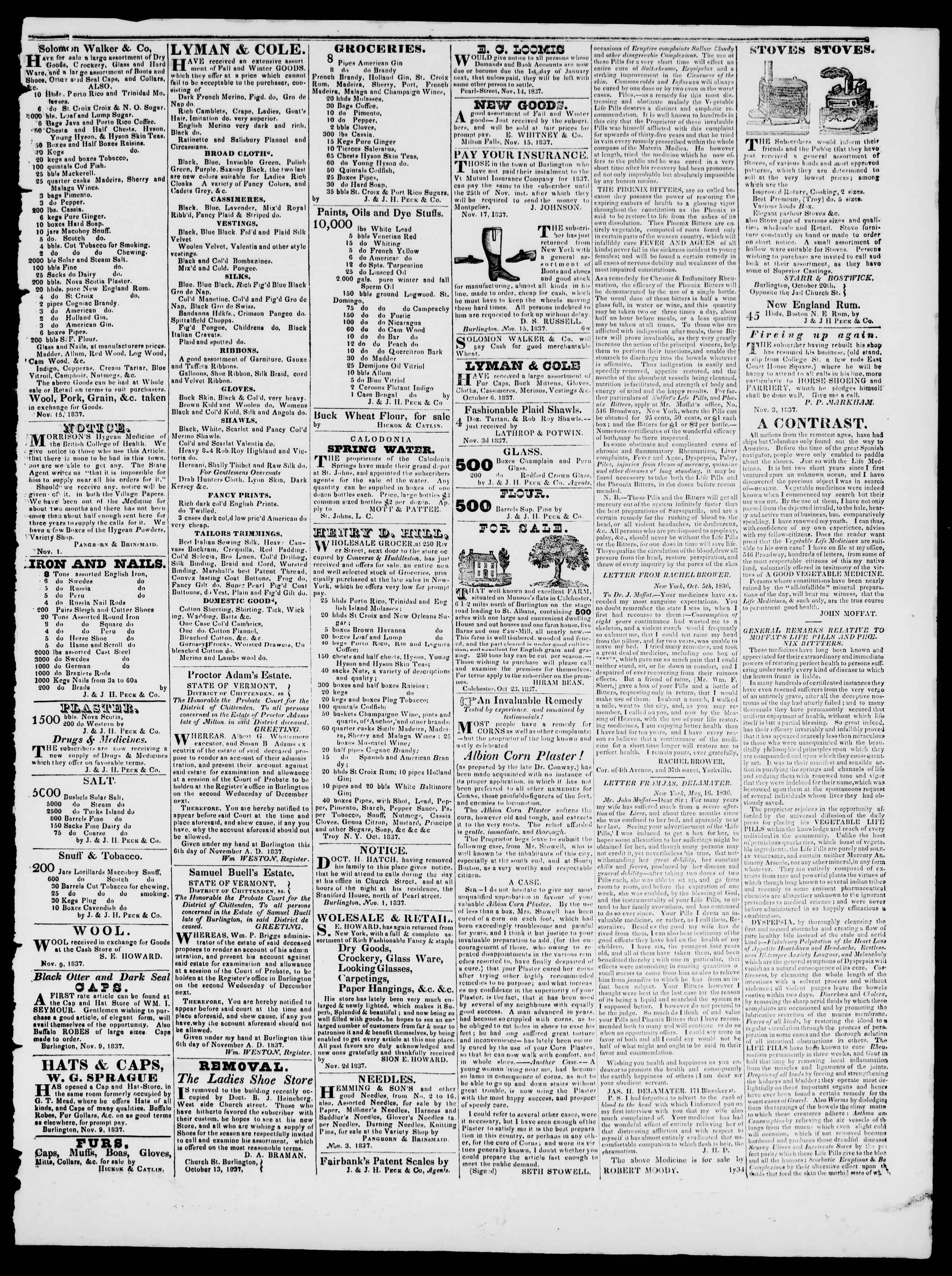 Newspaper of Burlington Free Press dated November 24, 1837 Page 3