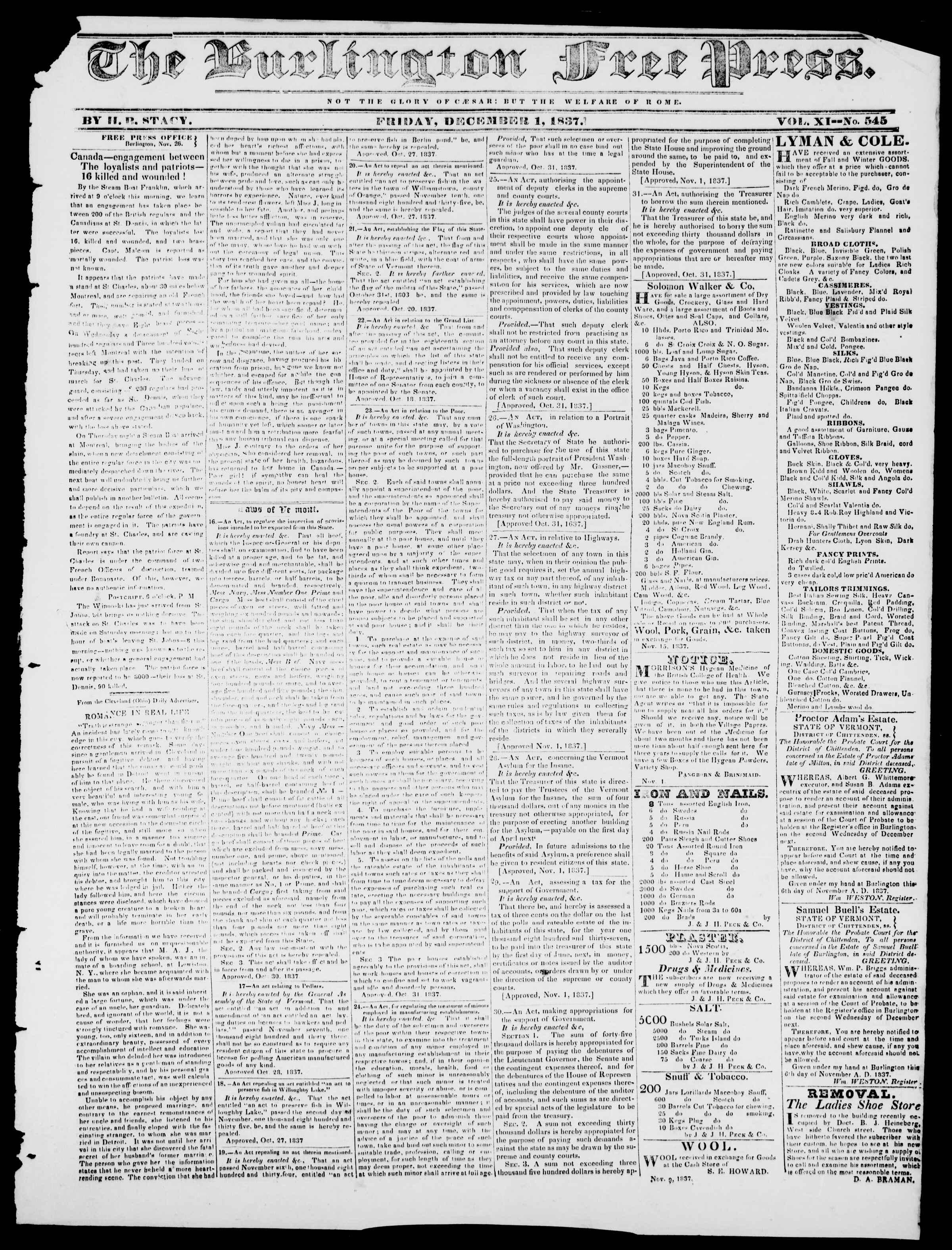Newspaper of Burlington Free Press dated December 1, 1837 Page 1