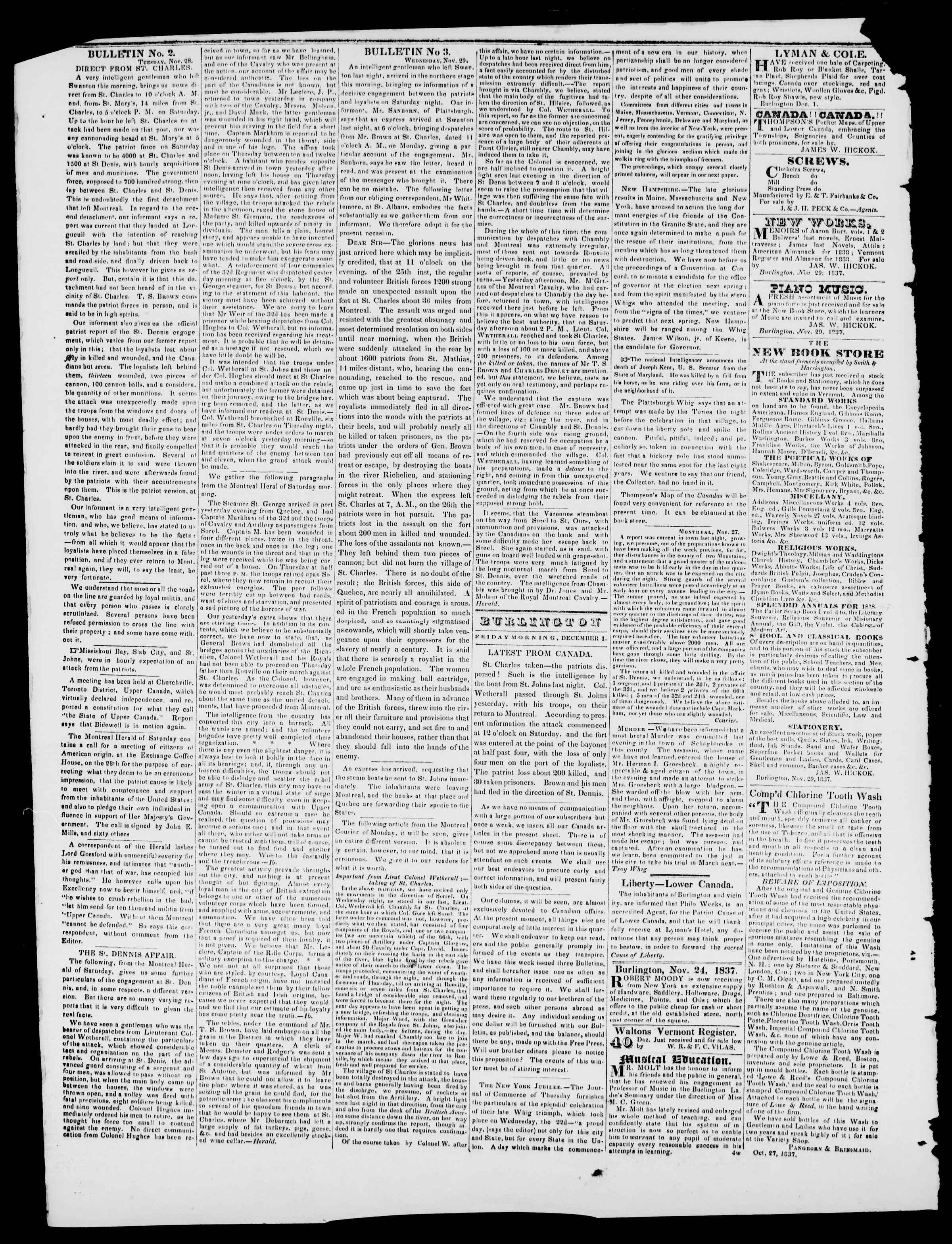 1 Aralık 1837 tarihli Burlington Free Press Gazetesi Sayfa 2