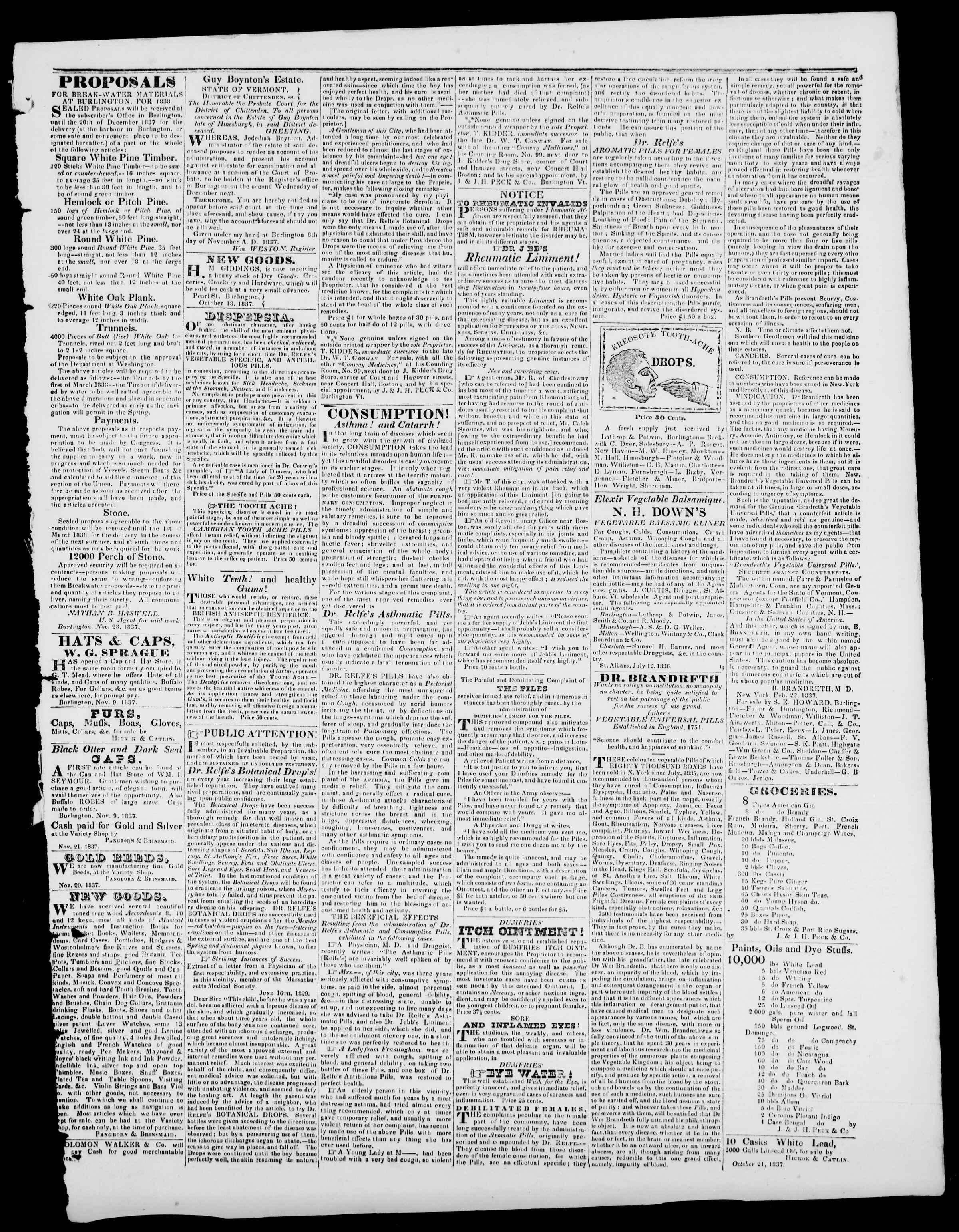 Newspaper of Burlington Free Press dated December 1, 1837 Page 3