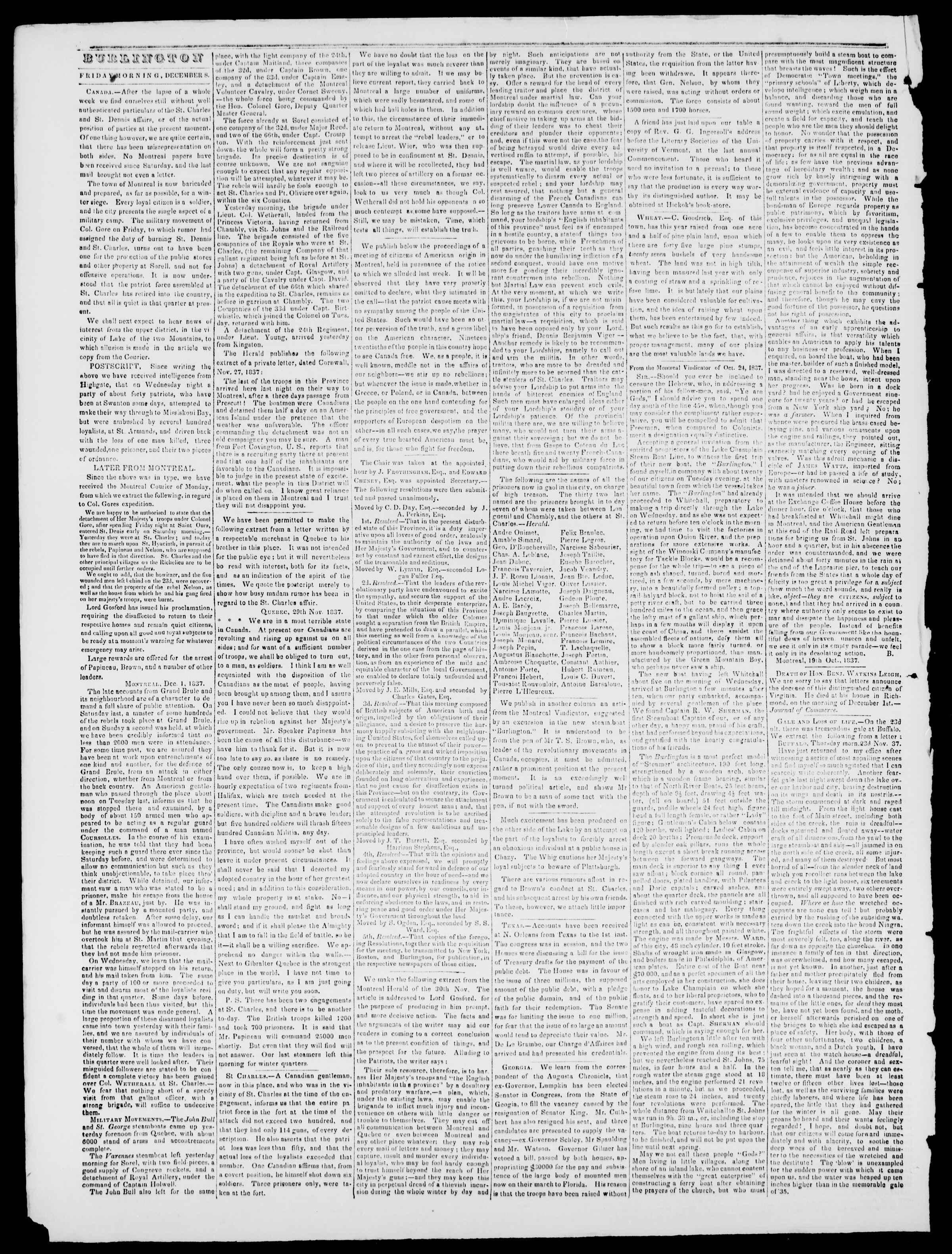 Newspaper of Burlington Free Press dated December 8, 1837 Page 2
