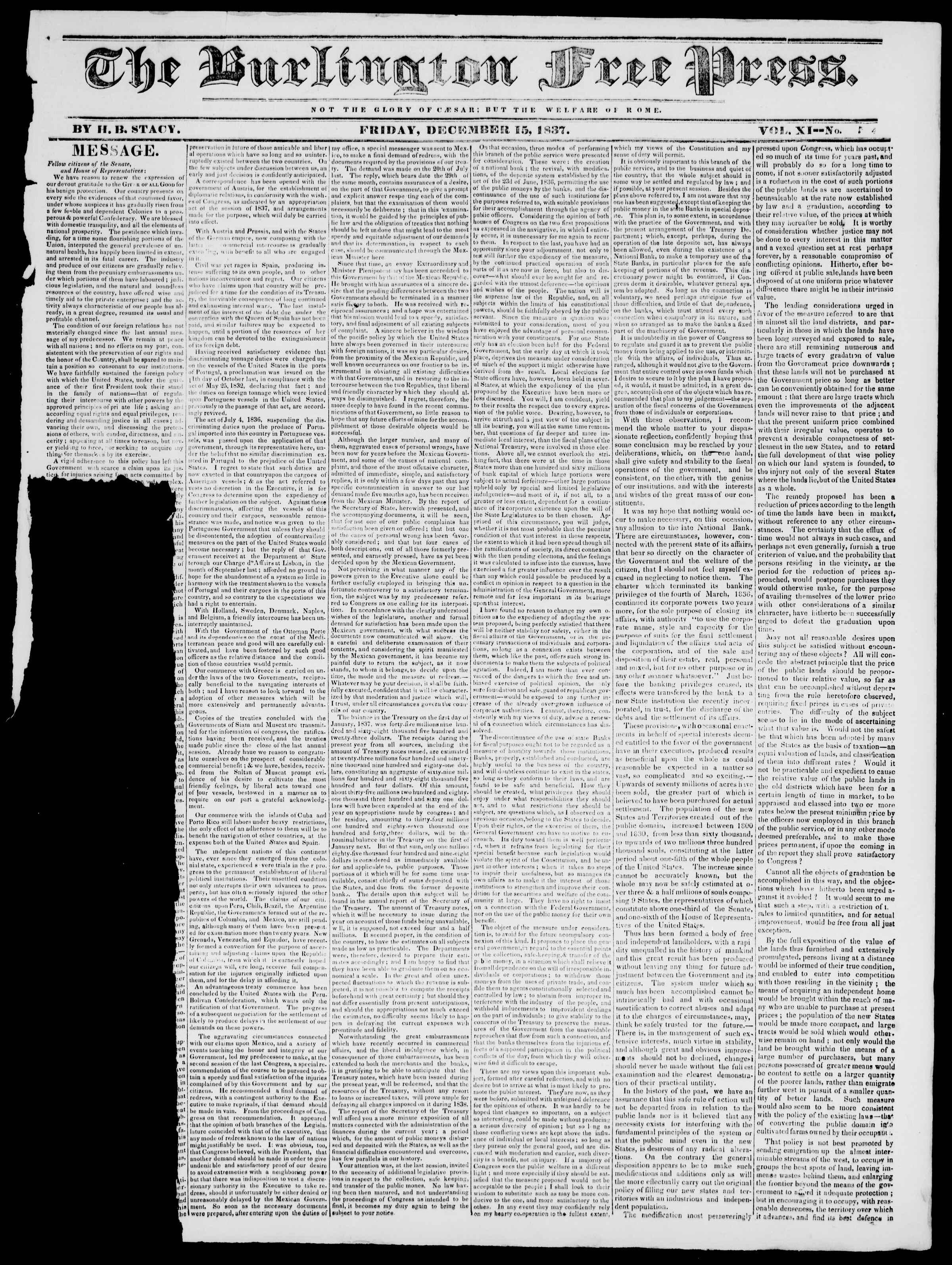 Newspaper of Burlington Free Press dated December 15, 1837 Page 1