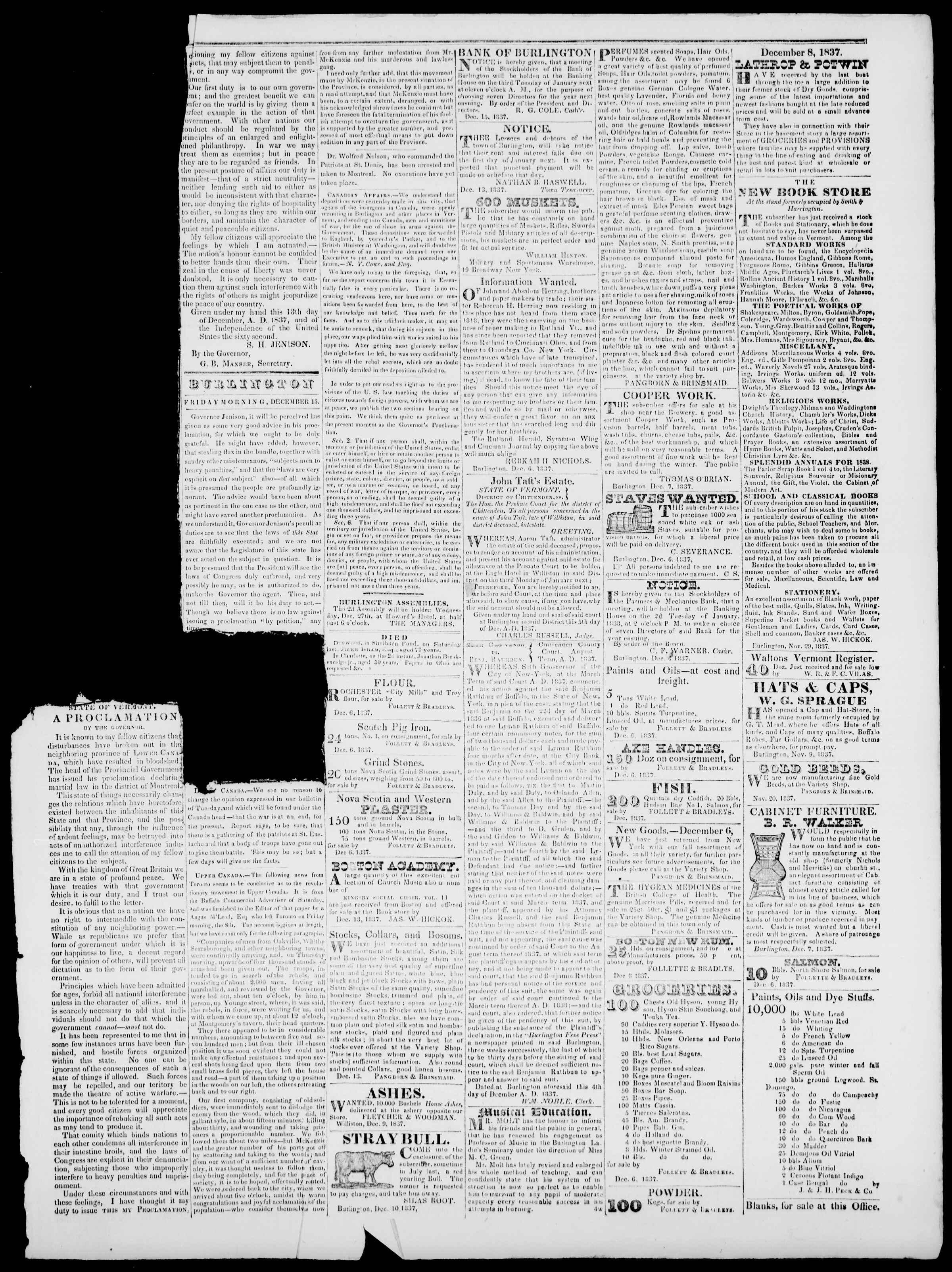 Newspaper of Burlington Free Press dated December 15, 1837 Page 3