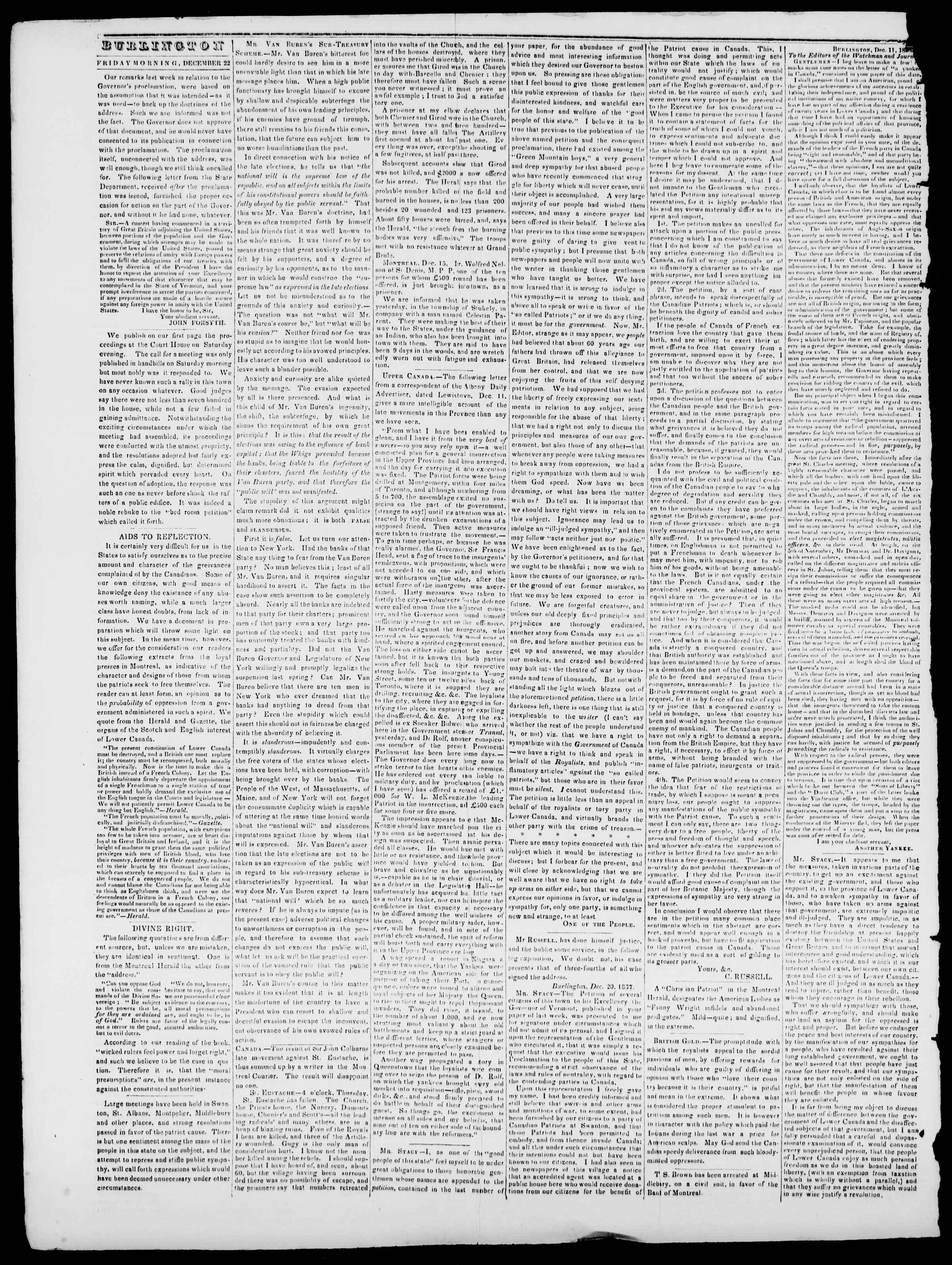 Newspaper of Burlington Free Press dated December 22, 1837 Page 2