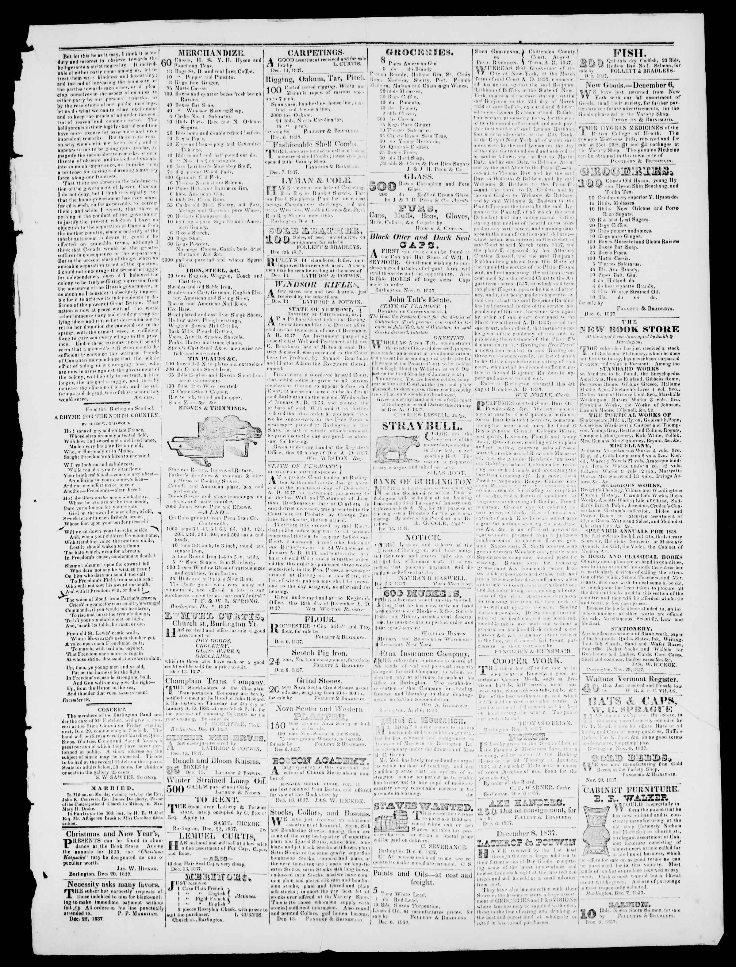 Newspaper of Burlington Free Press dated December 22, 1837 Page 3