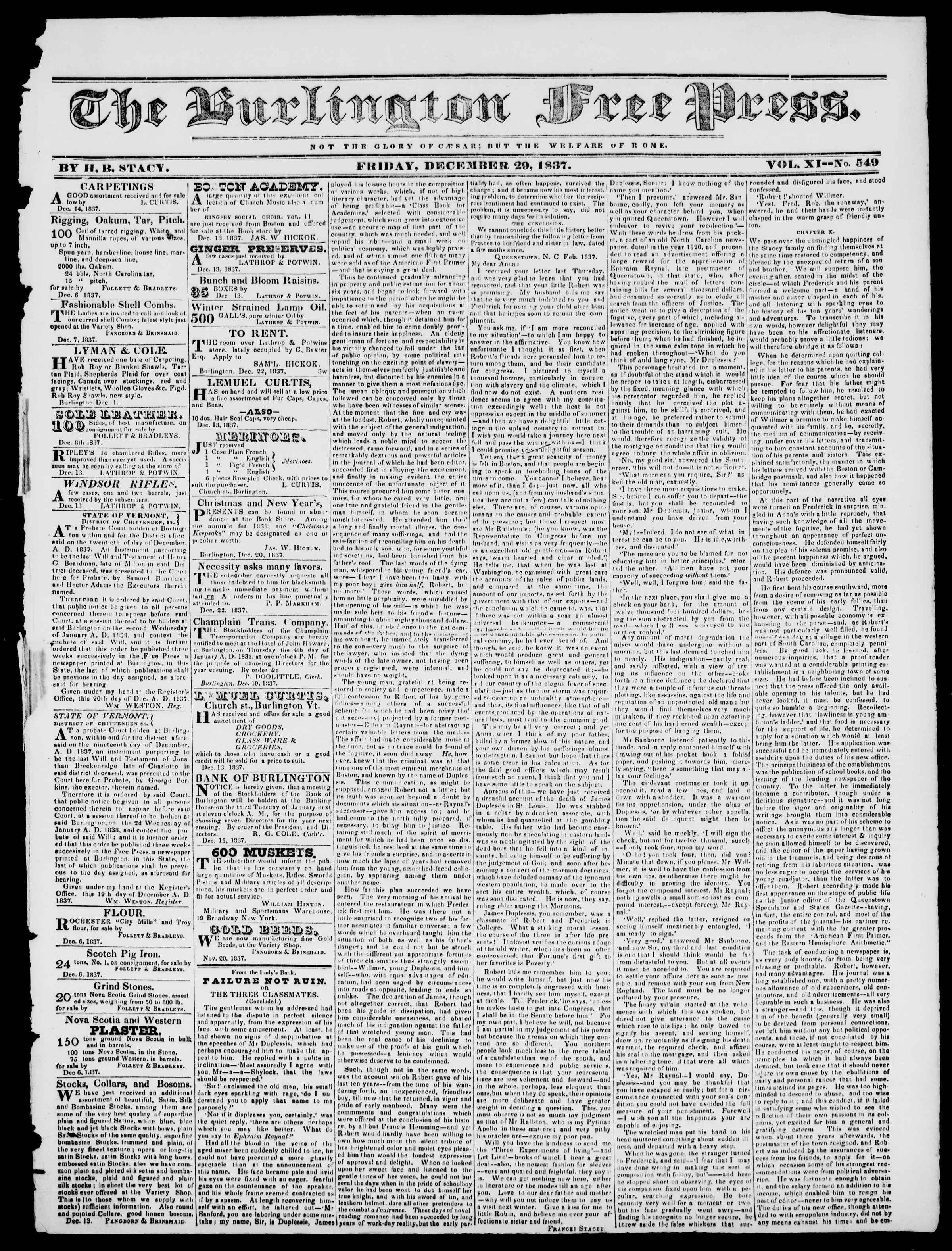 Newspaper of Burlington Free Press dated December 29, 1837 Page 1
