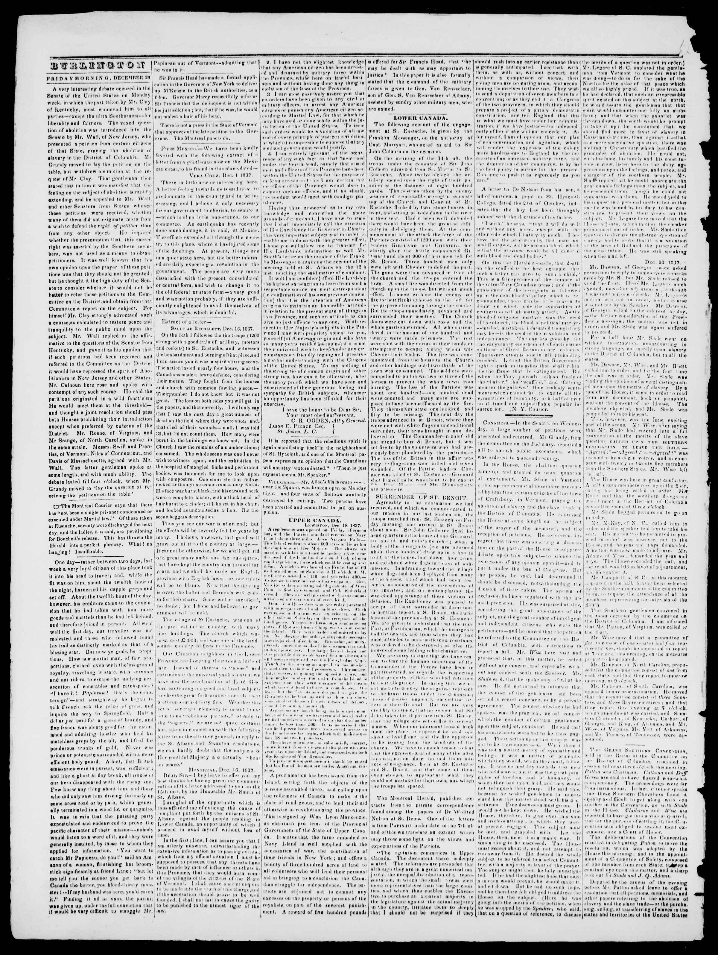 Newspaper of Burlington Free Press dated December 29, 1837 Page 2