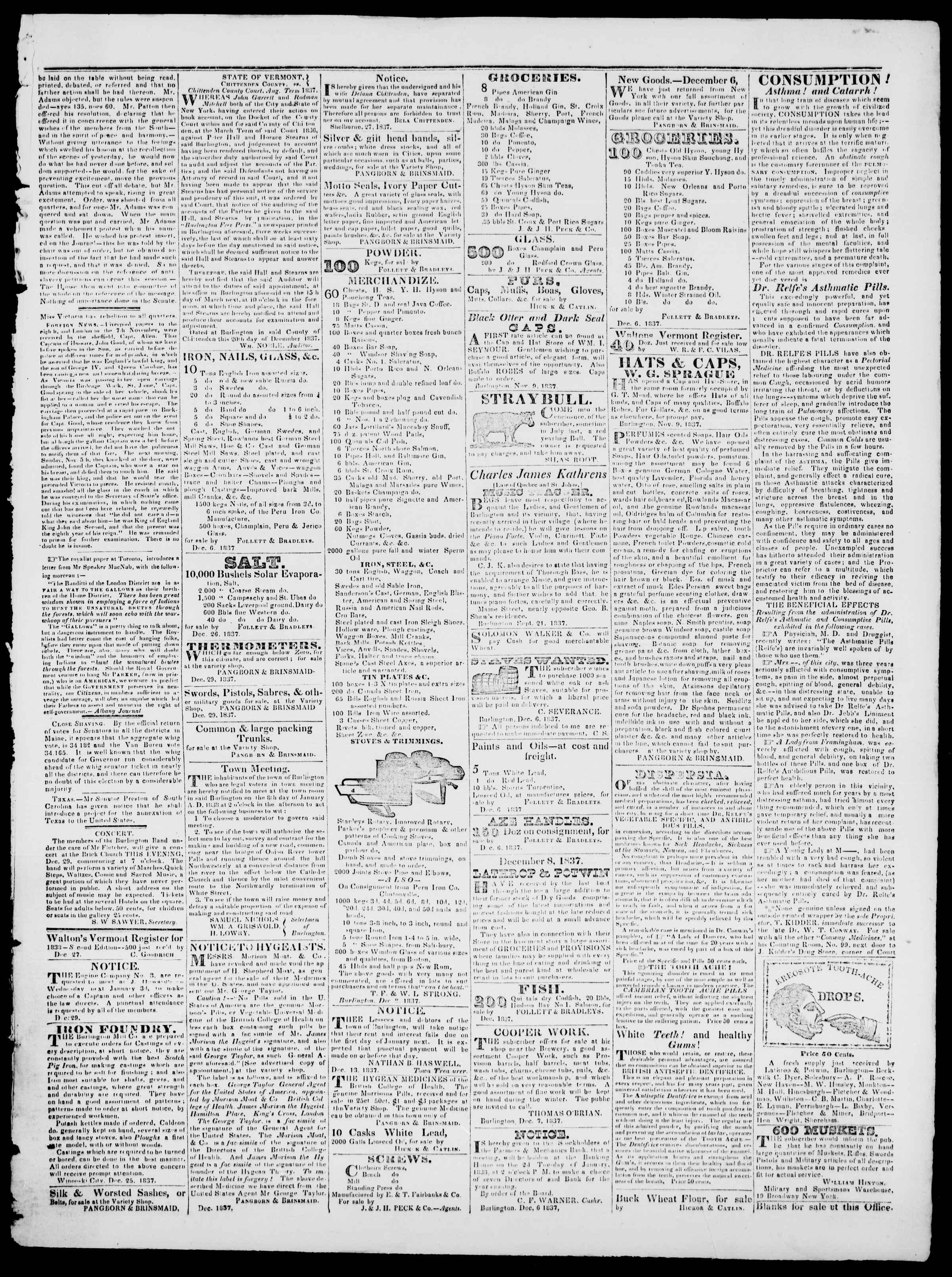 Newspaper of Burlington Free Press dated December 29, 1837 Page 3