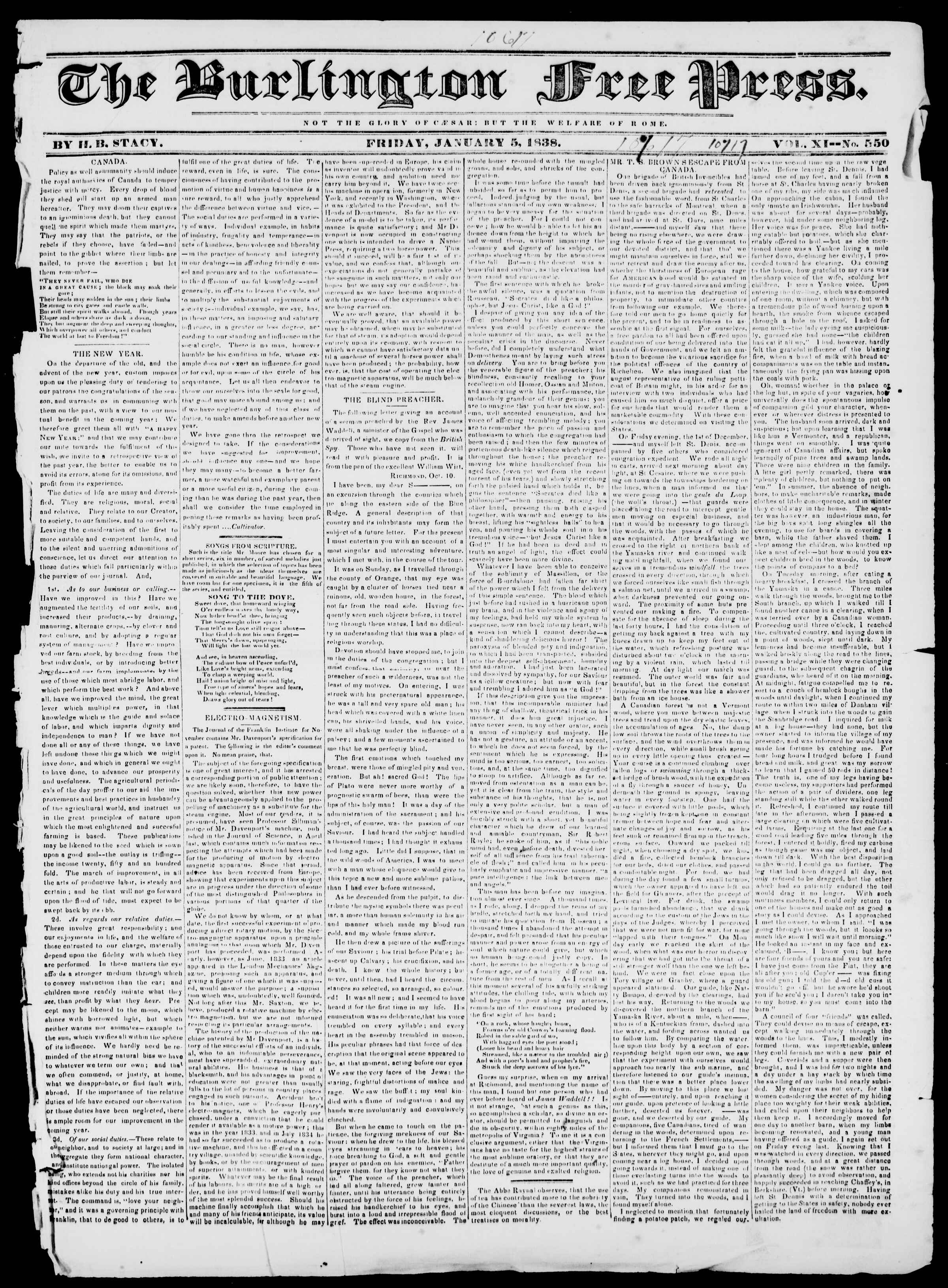 Newspaper of Burlington Free Press dated 5 Ocak 1838 Page 1
