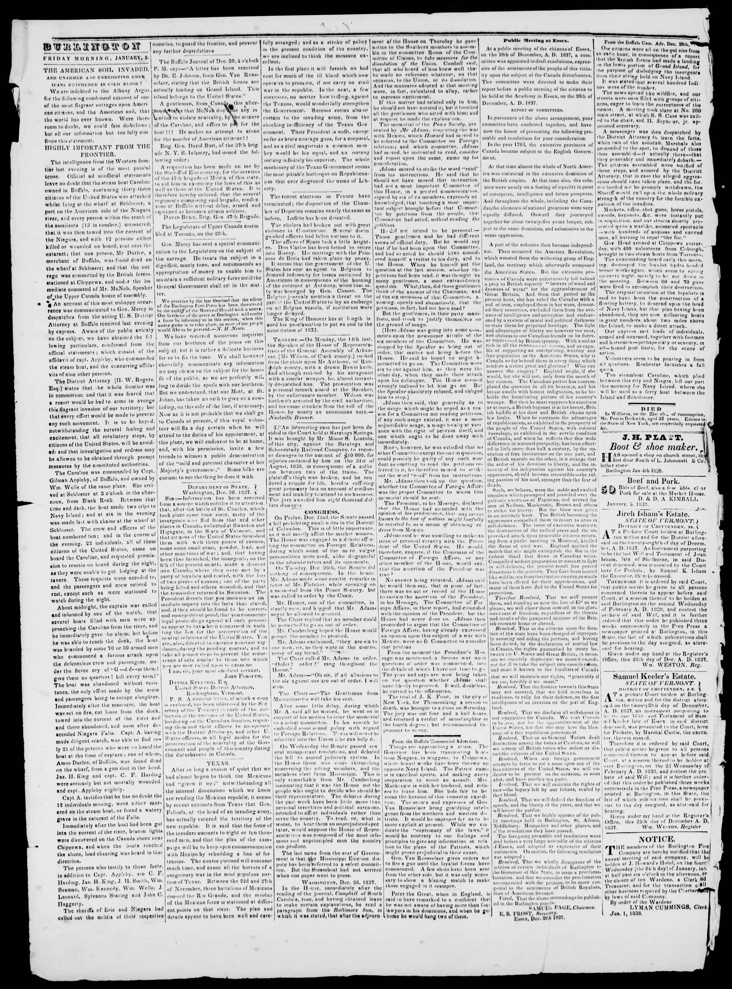 Newspaper of Burlington Free Press dated January 5, 1838 Page 2