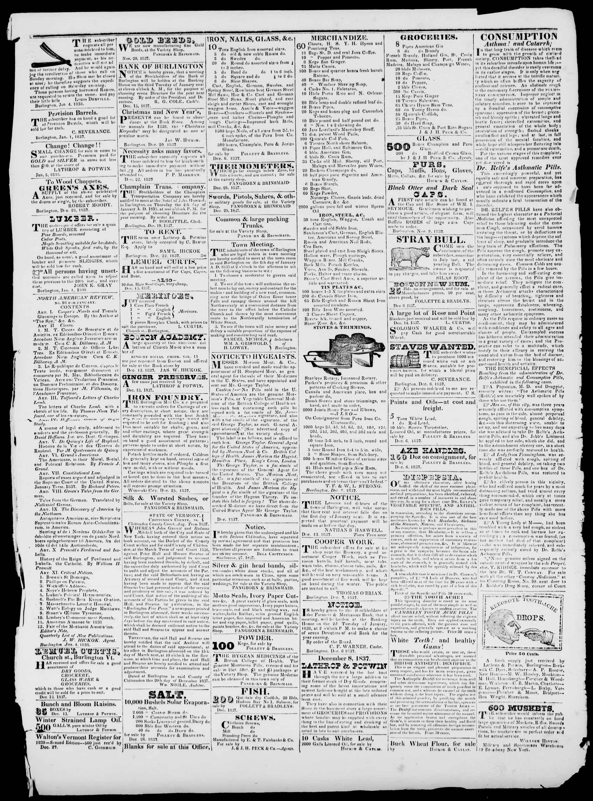 Newspaper of Burlington Free Press dated January 5, 1838 Page 3