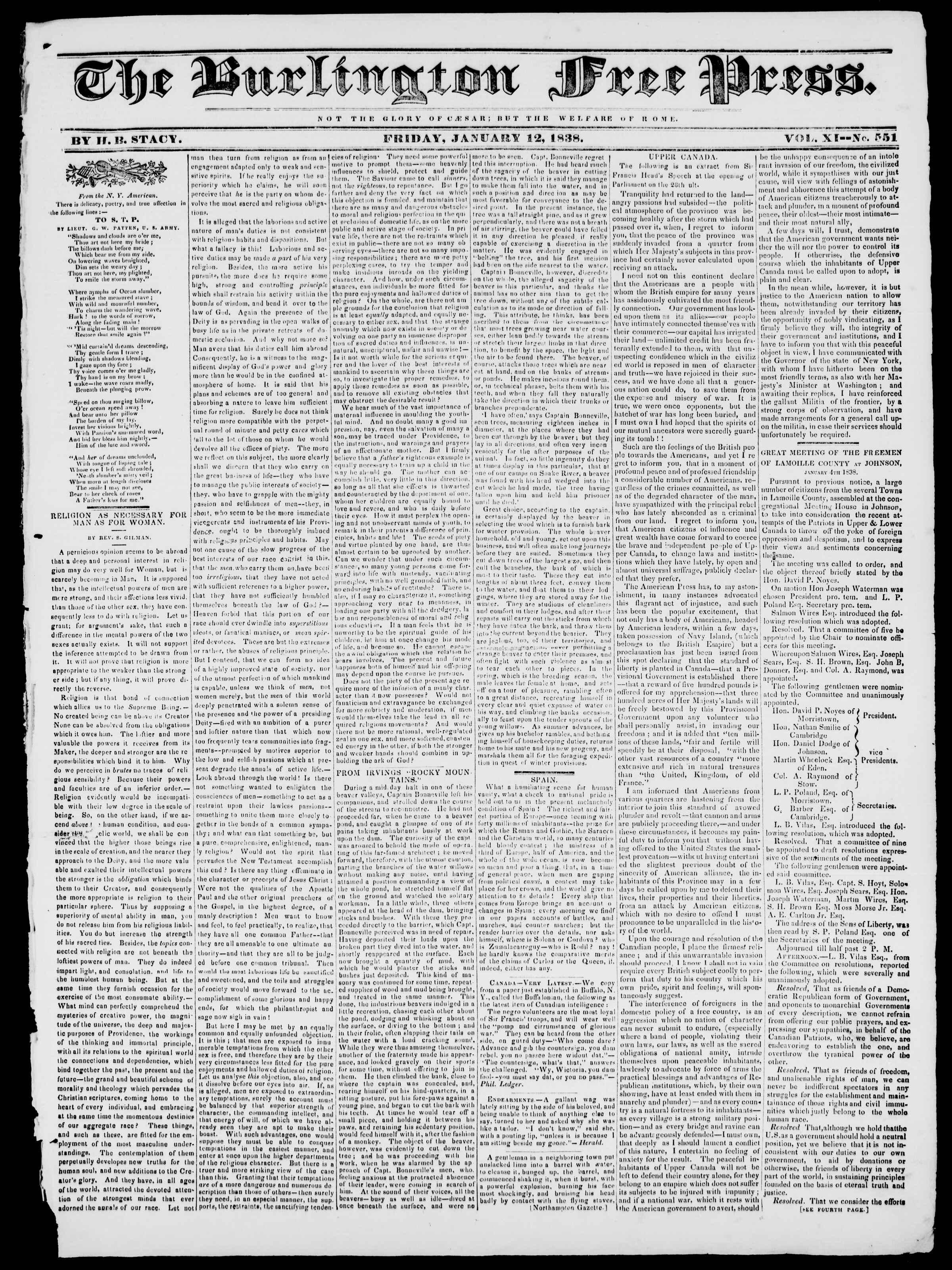 Newspaper of Burlington Free Press dated January 12, 1838 Page 1