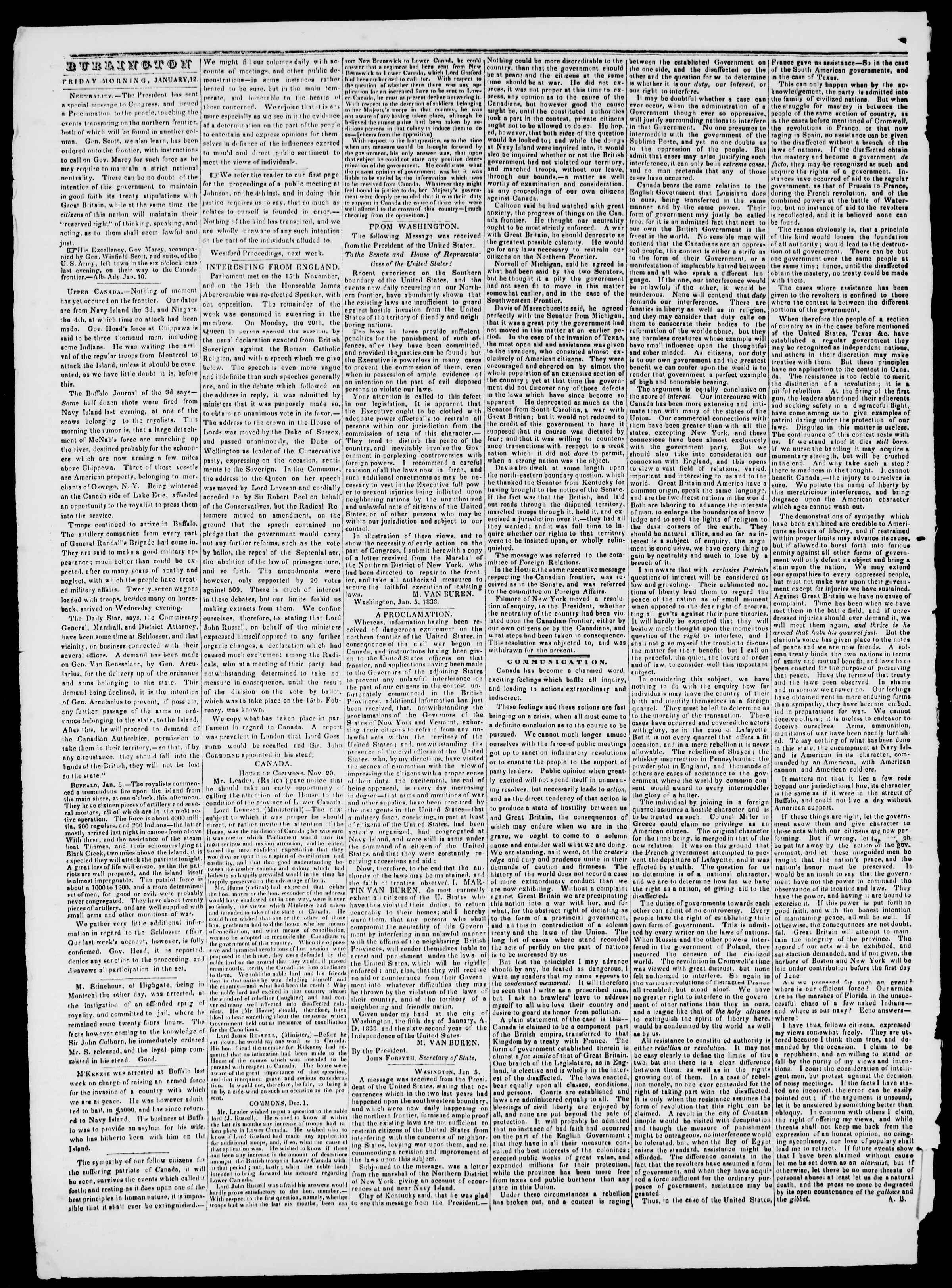 Newspaper of Burlington Free Press dated January 12, 1838 Page 2