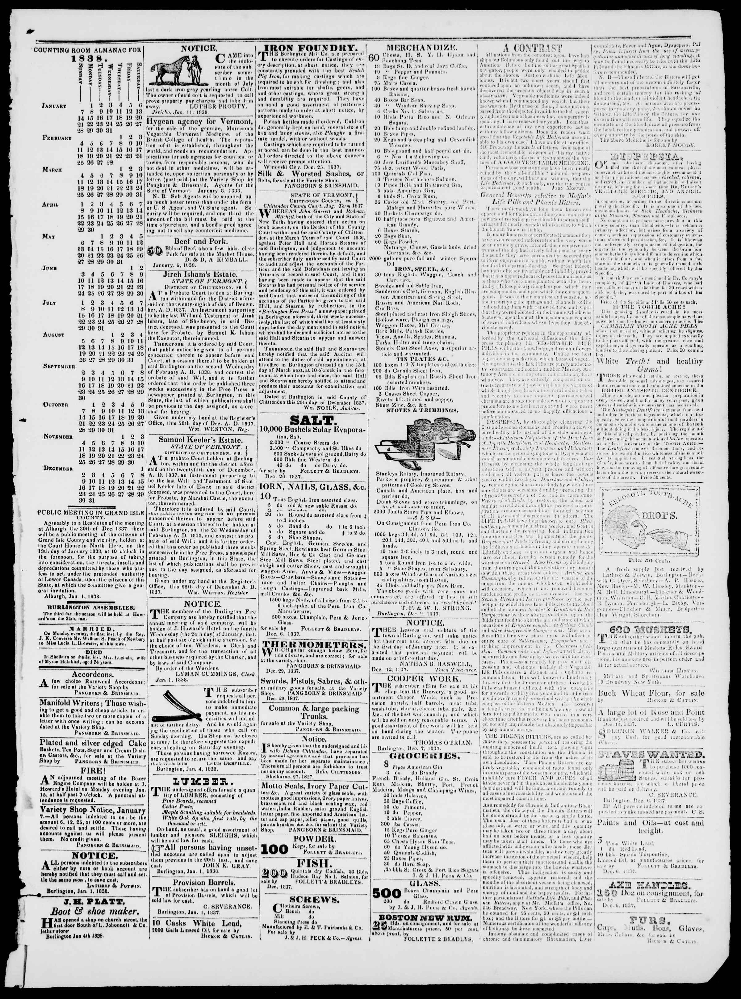 Newspaper of Burlington Free Press dated January 12, 1838 Page 3