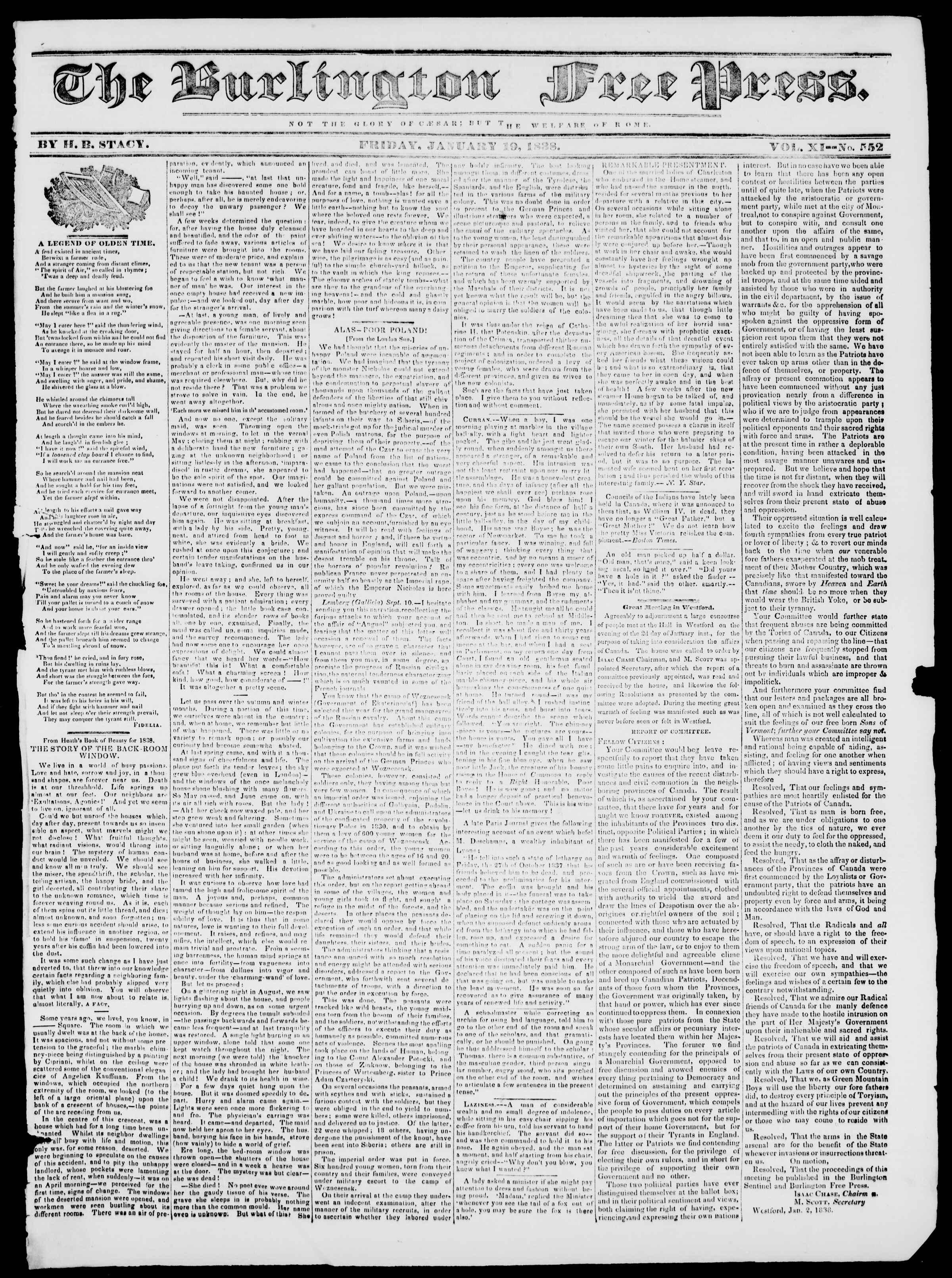Newspaper of Burlington Free Press dated January 19, 1838 Page 1