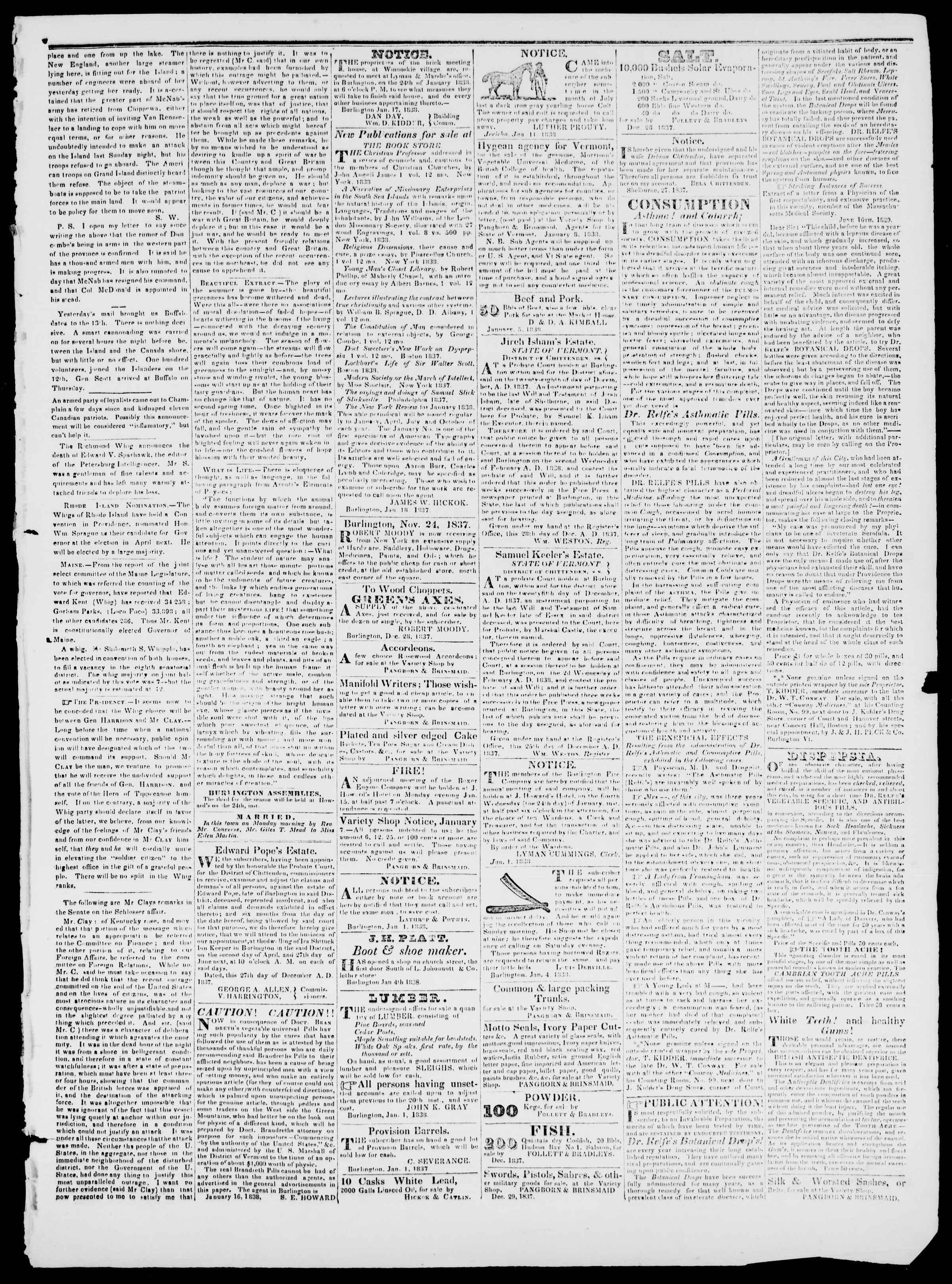 Newspaper of Burlington Free Press dated January 19, 1838 Page 3