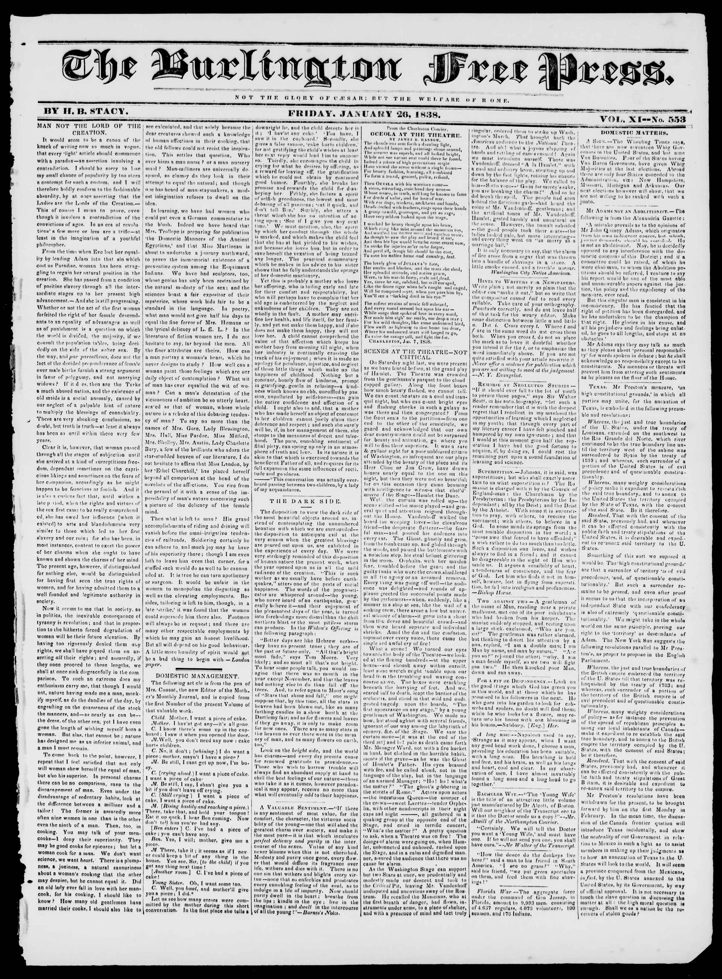 Newspaper of Burlington Free Press dated January 26, 1838 Page 1