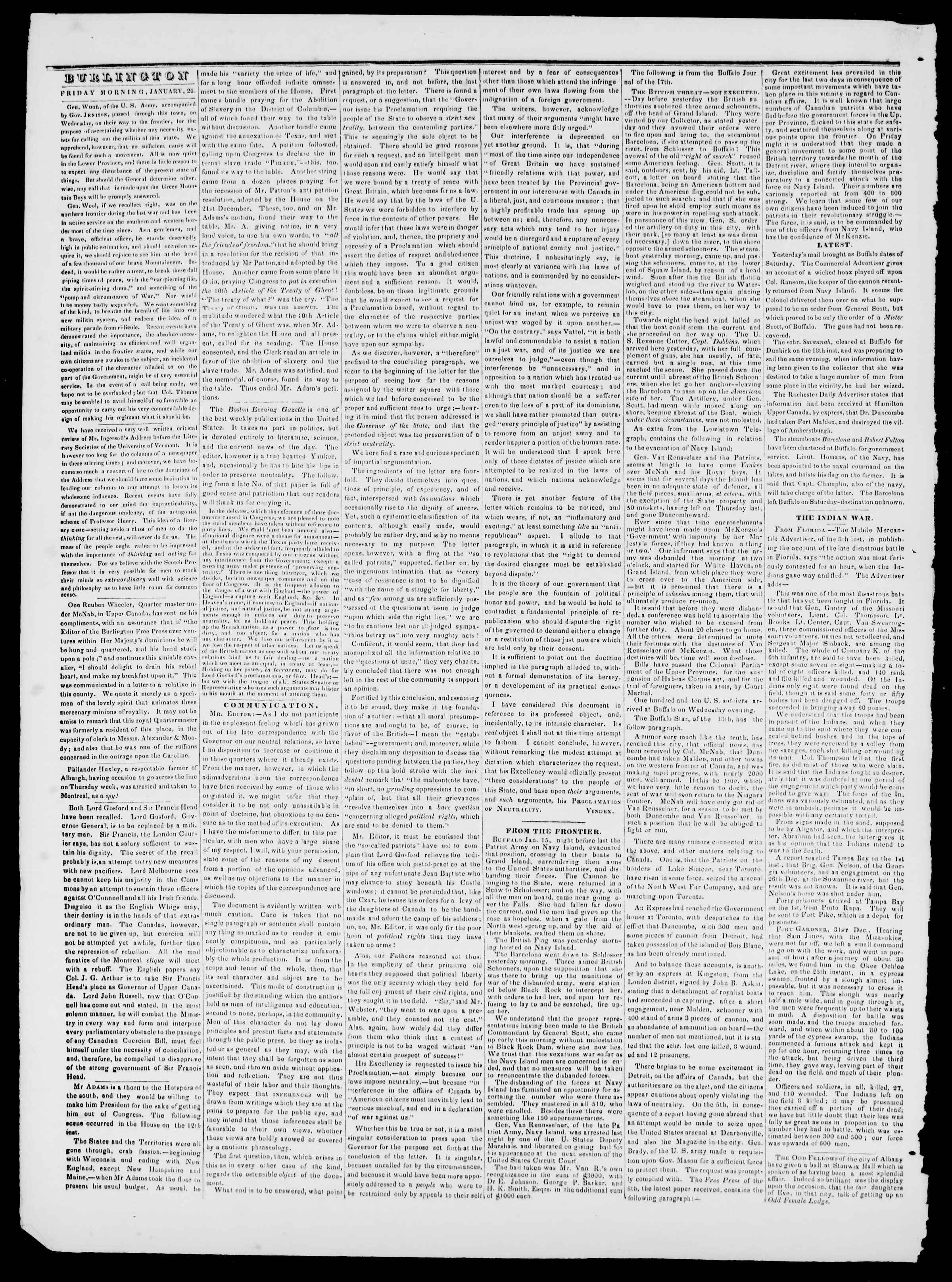 Newspaper of Burlington Free Press dated January 26, 1838 Page 2