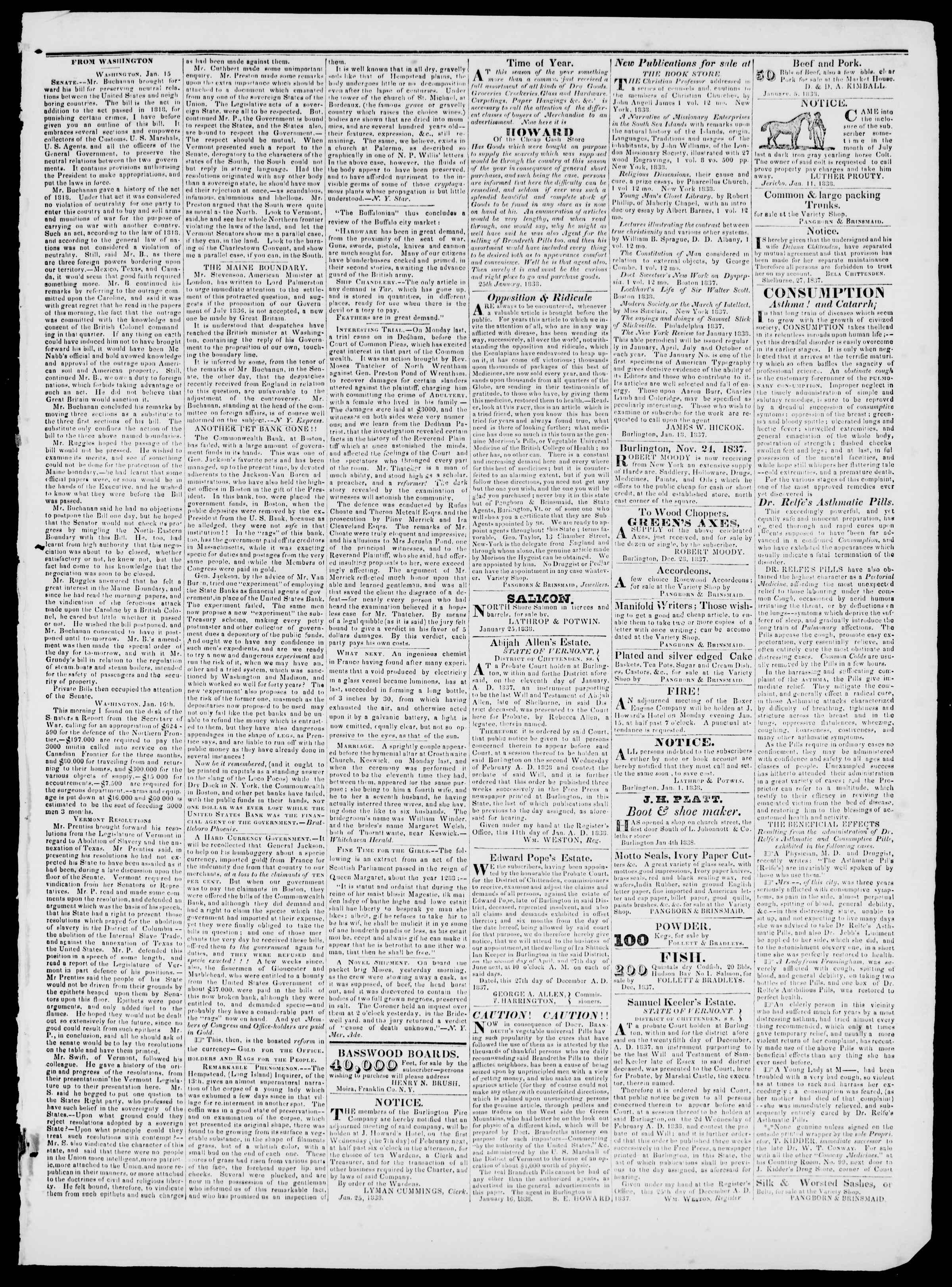 Newspaper of Burlington Free Press dated January 26, 1838 Page 3