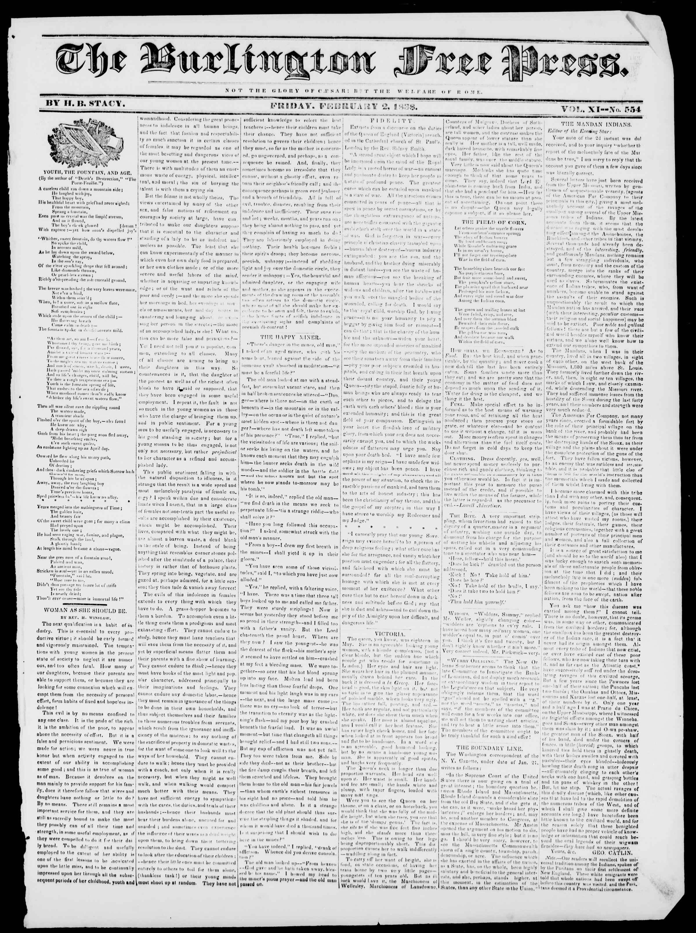 Newspaper of Burlington Free Press dated February 2, 1838 Page 1