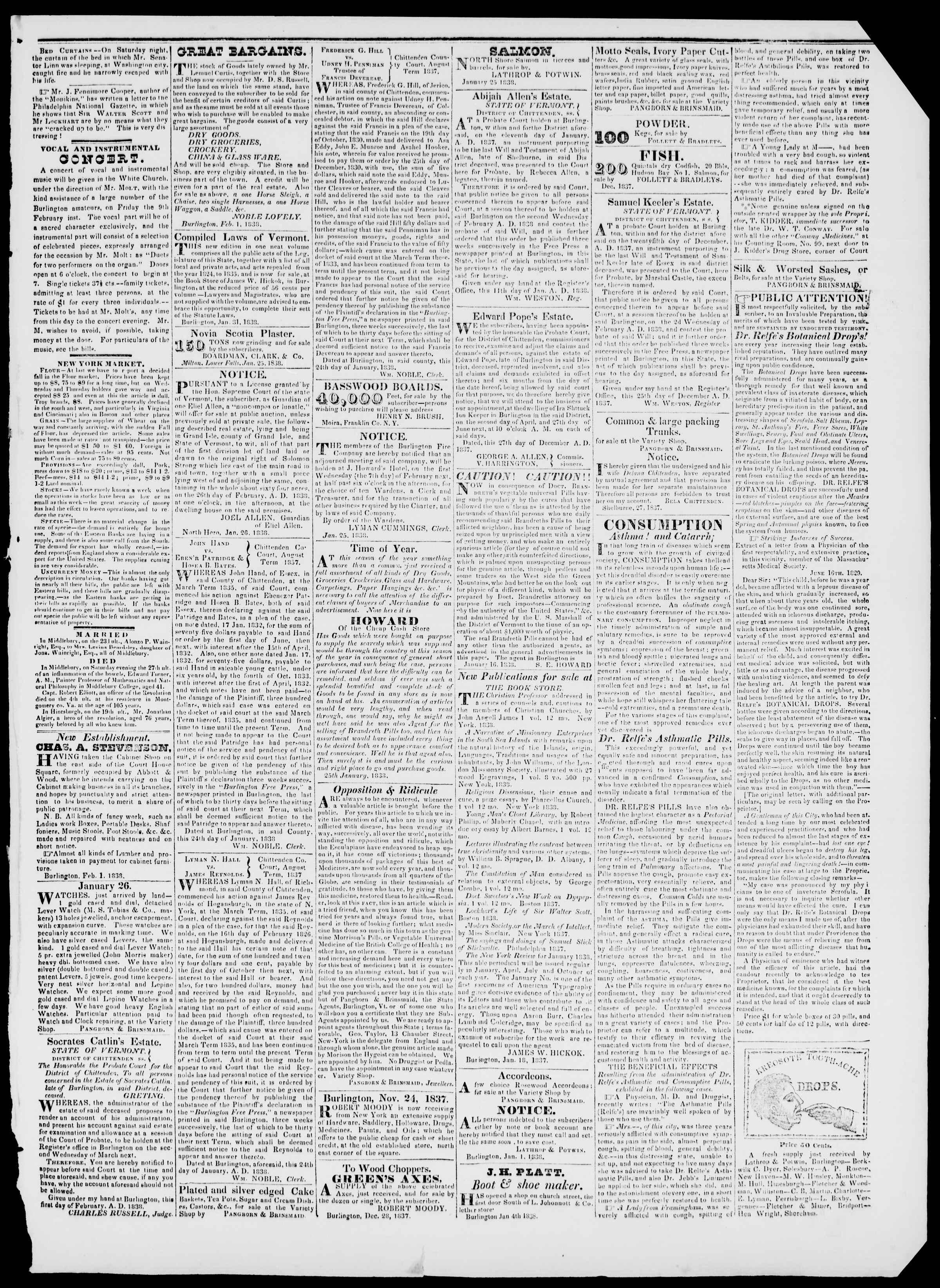 Newspaper of Burlington Free Press dated February 2, 1838 Page 3