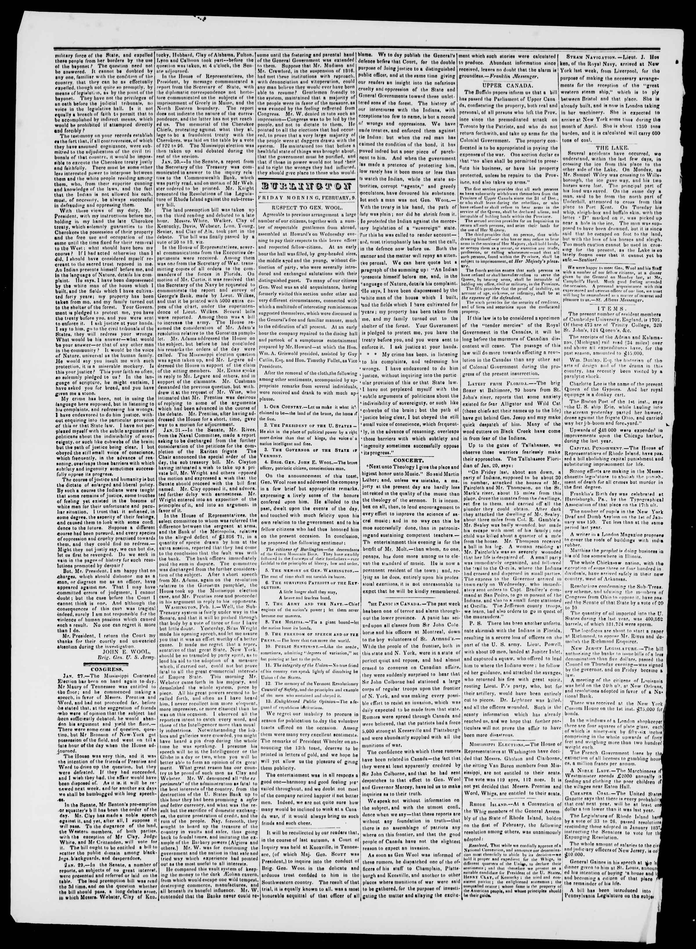 Newspaper of Burlington Free Press dated February 9, 1838 Page 2