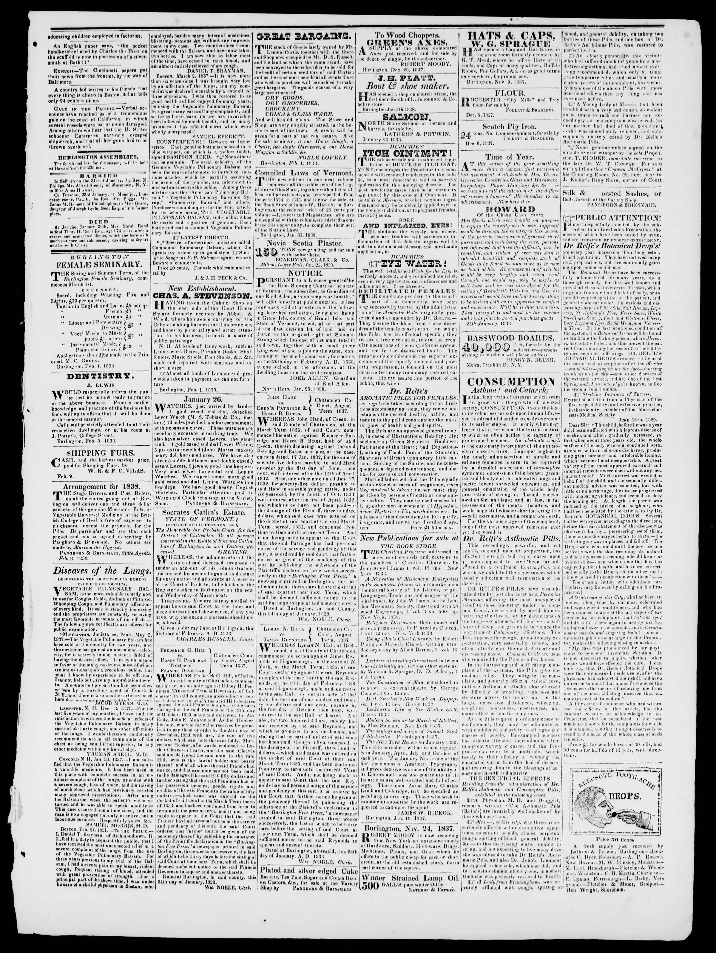 Newspaper of Burlington Free Press dated February 9, 1838 Page 3