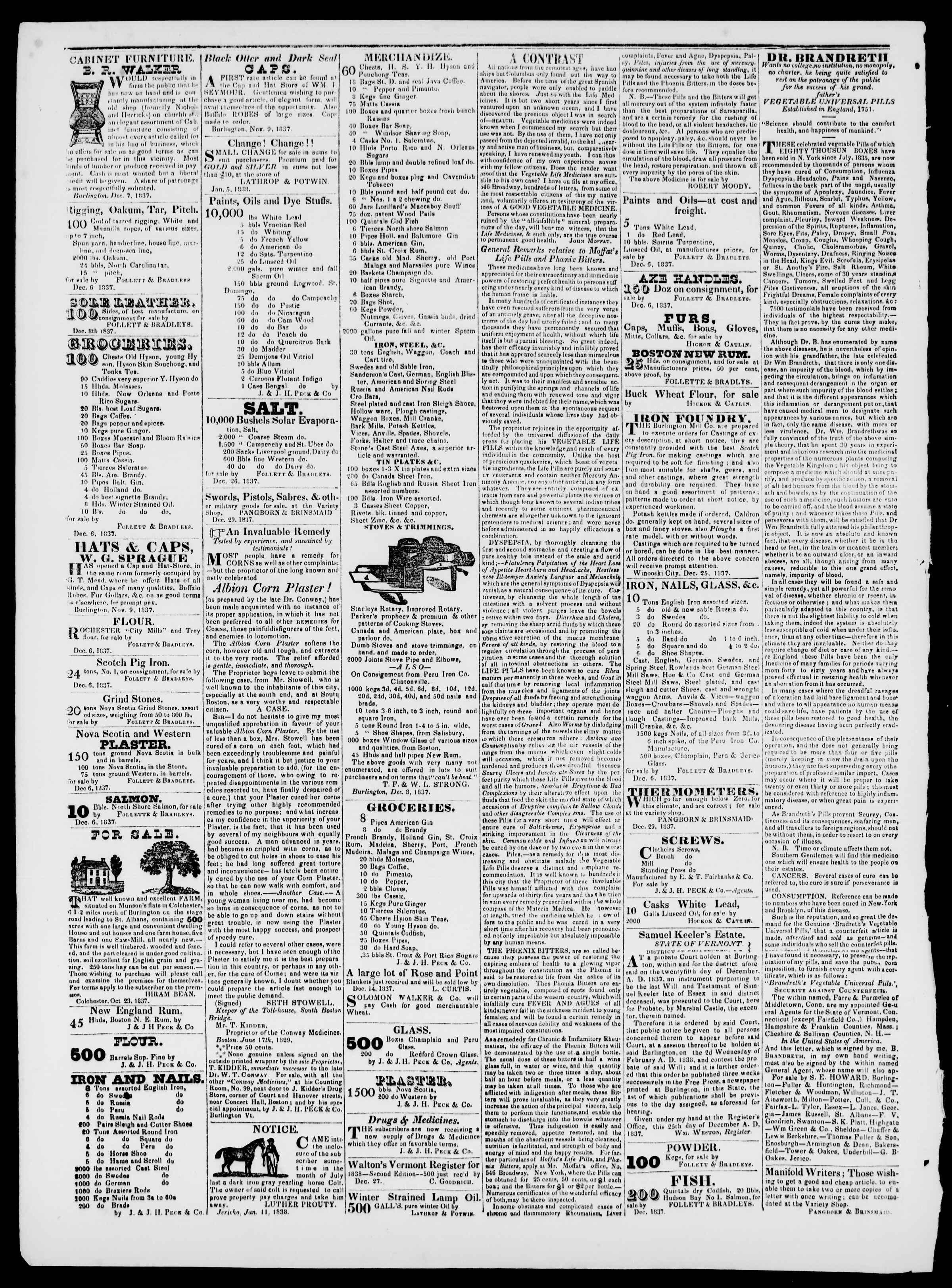 Newspaper of Burlington Free Press dated February 9, 1838 Page 4