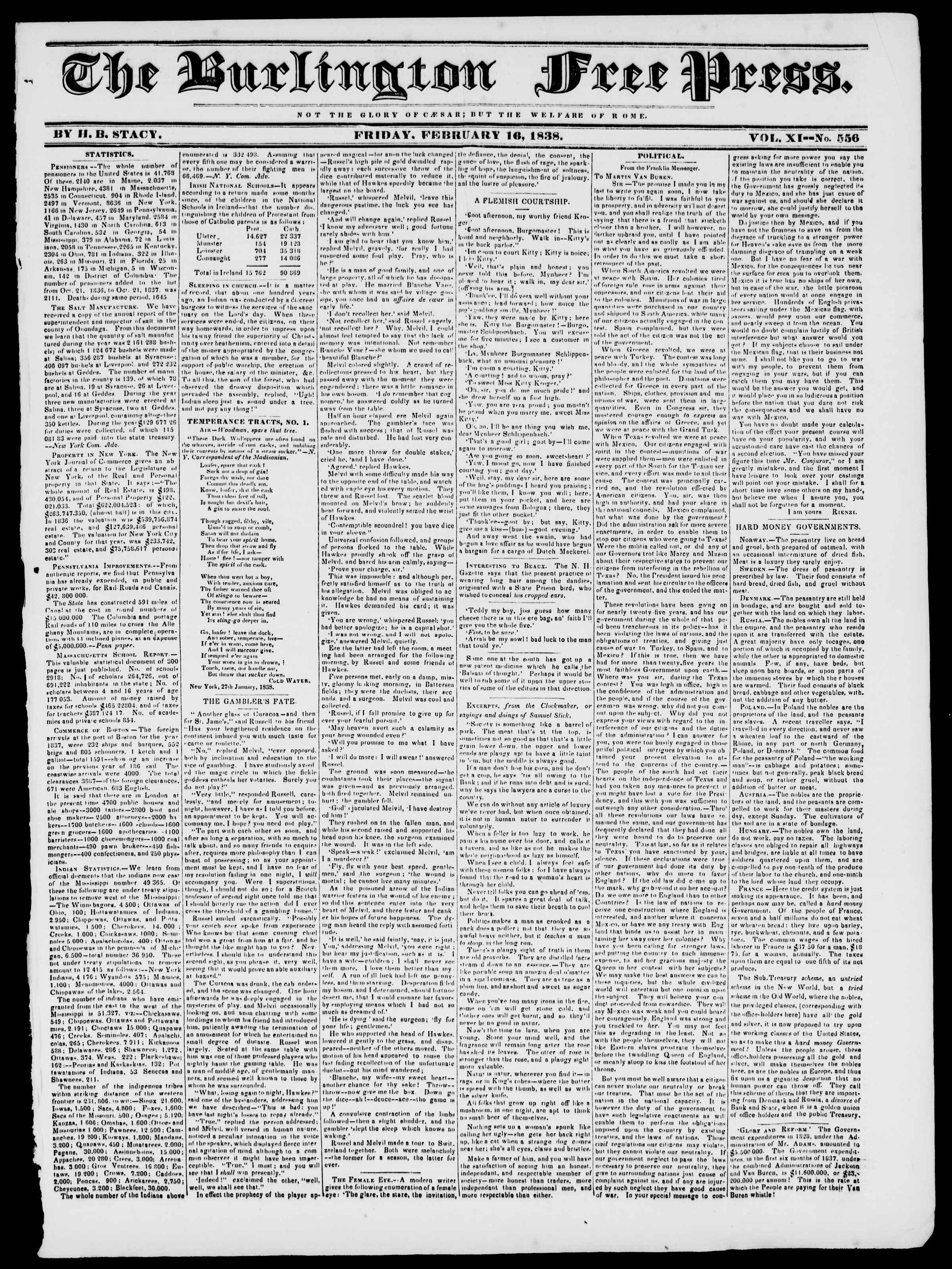Newspaper of Burlington Free Press dated February 16, 1838 Page 1