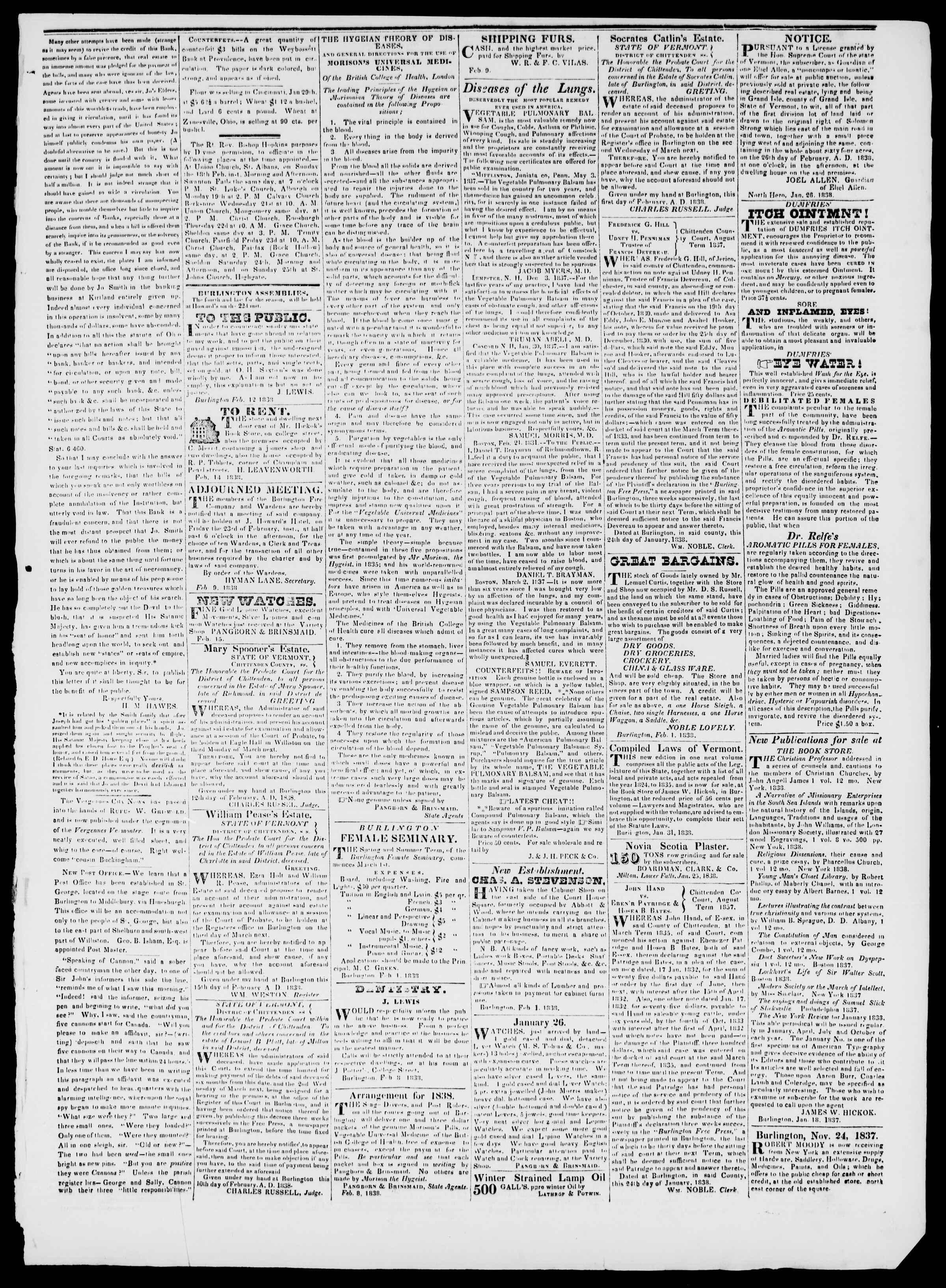 Newspaper of Burlington Free Press dated February 16, 1838 Page 3