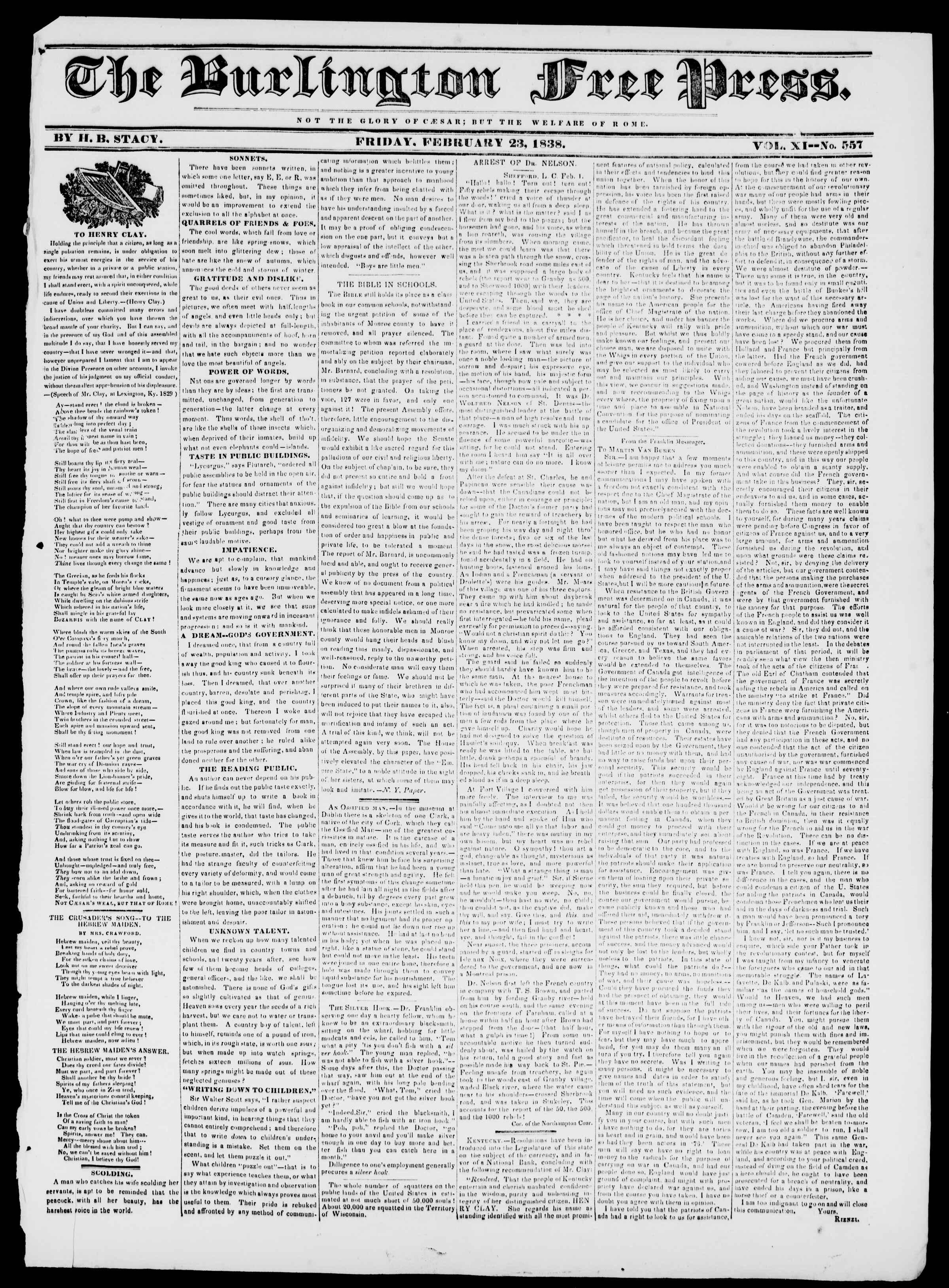 Newspaper of Burlington Free Press dated February 23, 1838 Page 1
