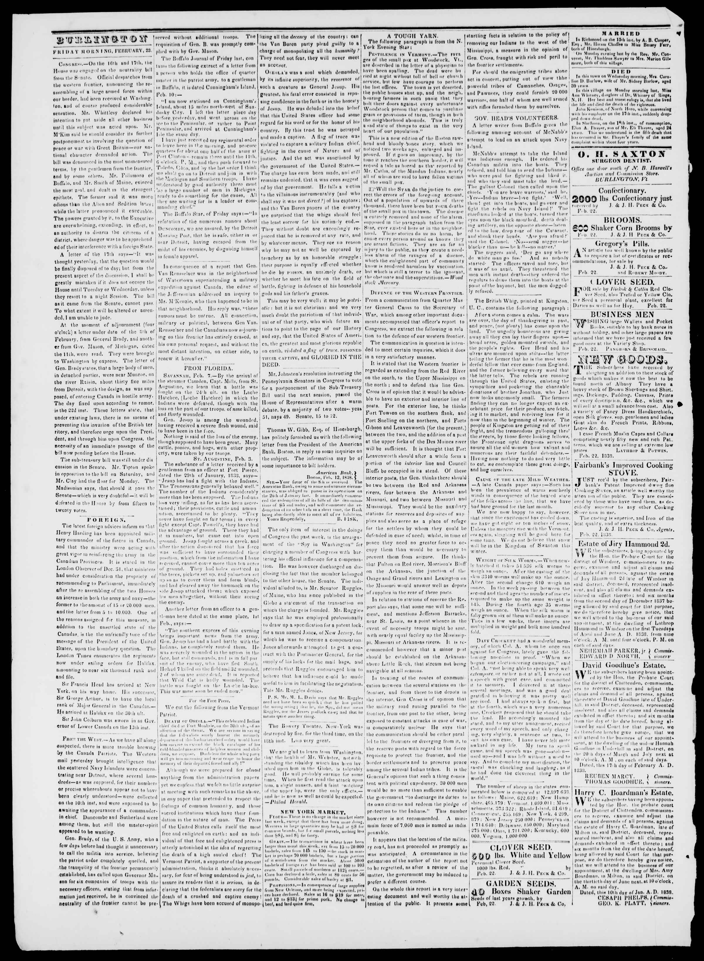Newspaper of Burlington Free Press dated February 23, 1838 Page 2