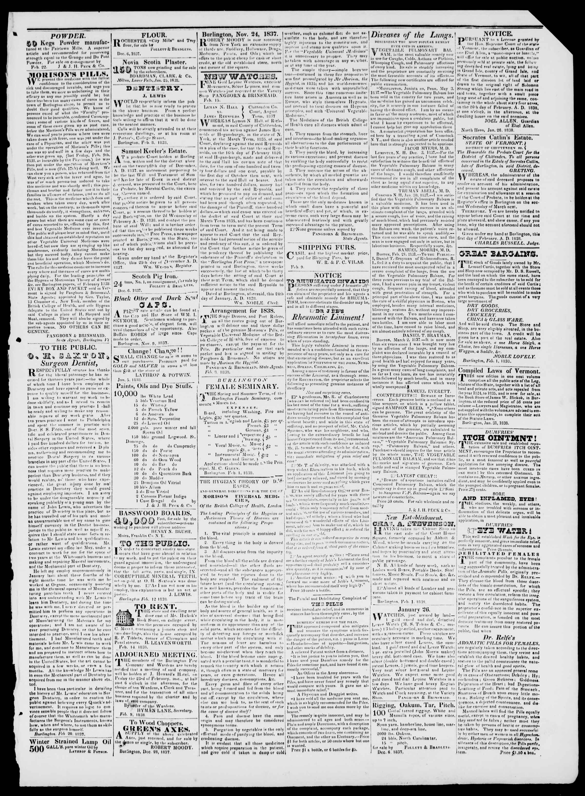 Newspaper of Burlington Free Press dated February 23, 1838 Page 3